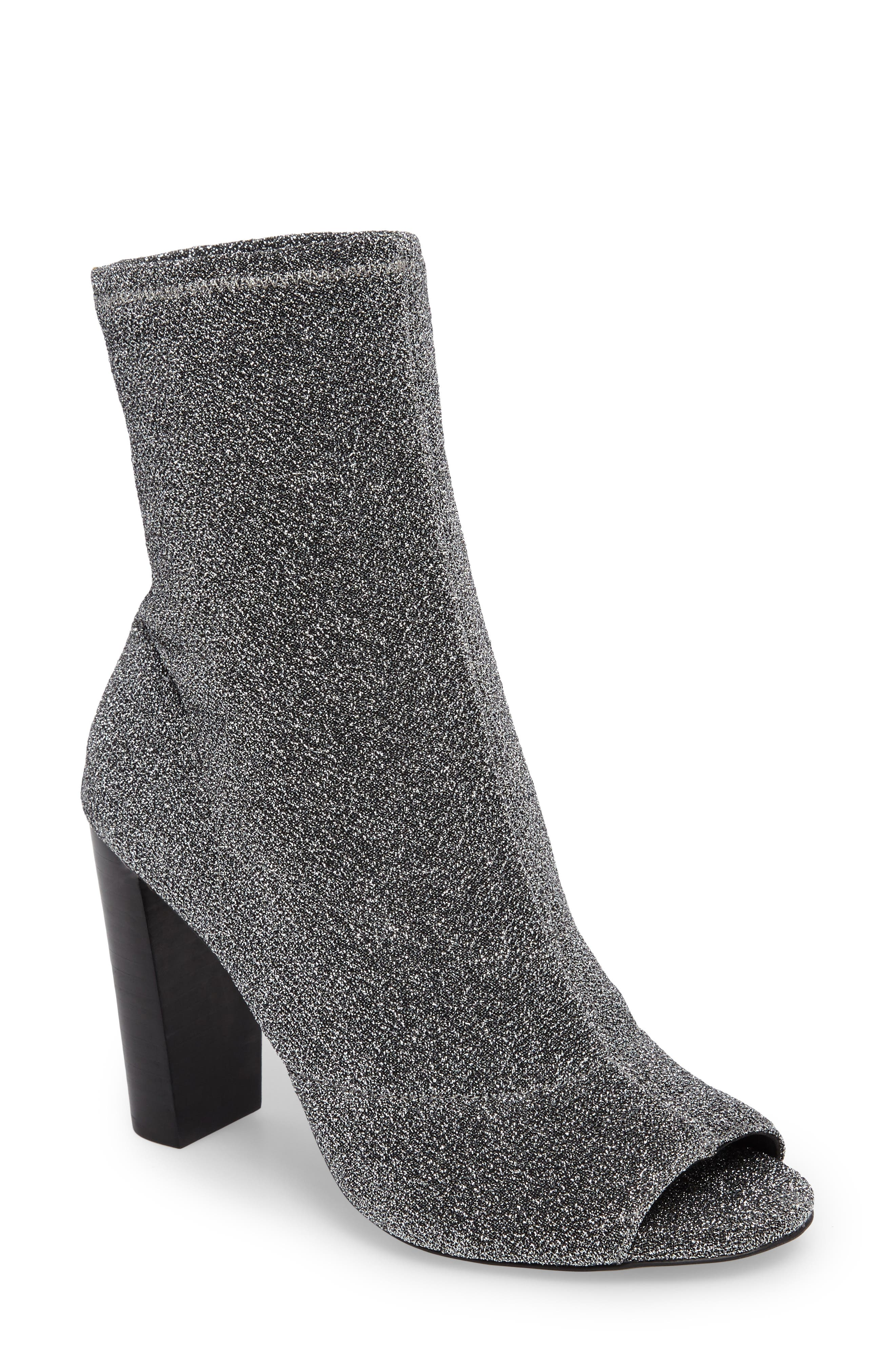Elara Open-Toe Bootie,                             Main thumbnail 1, color,                             Gunmetal