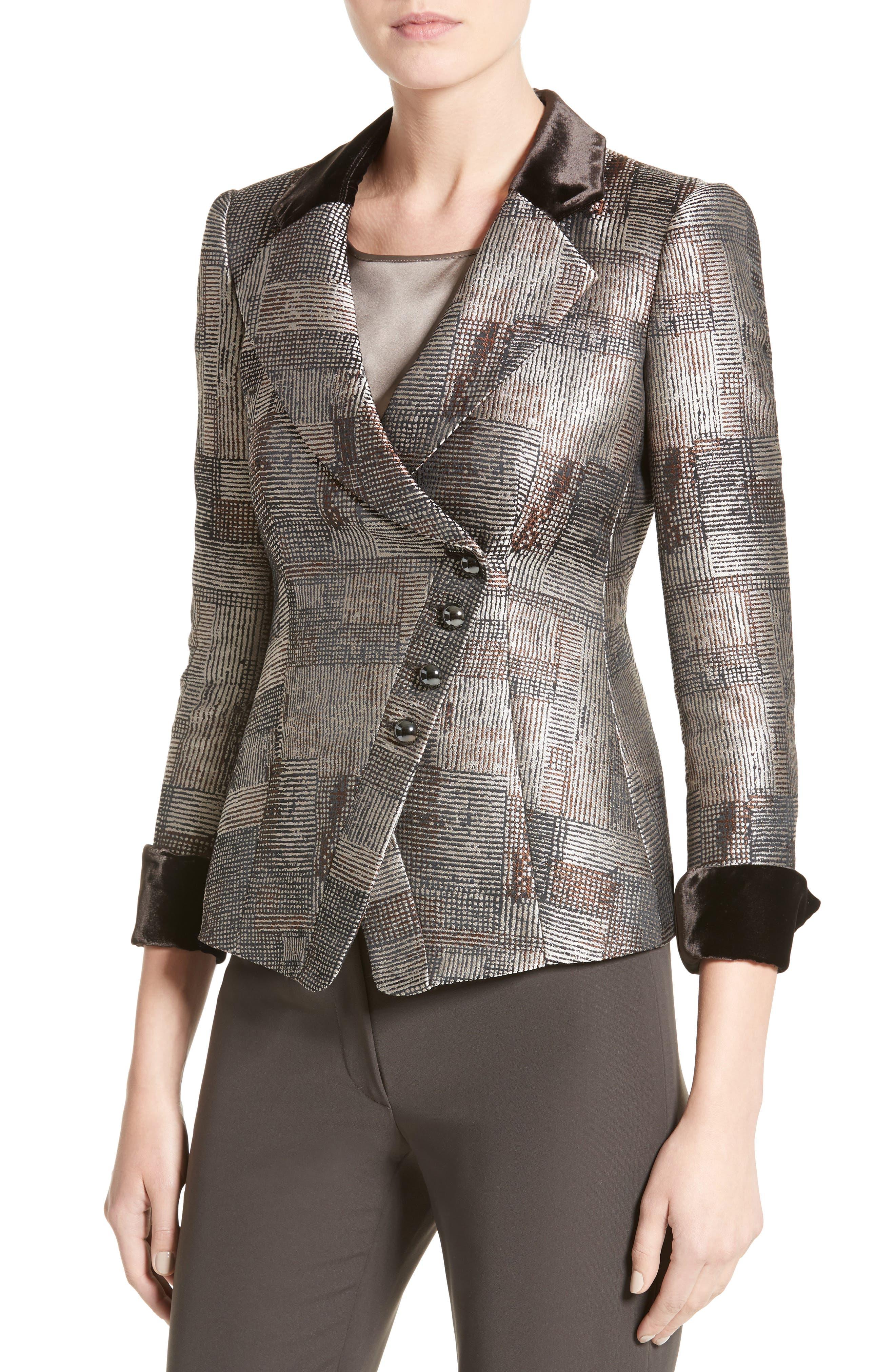Panel Jacquard Asymmetrical Jacket,                             Alternate thumbnail 6, color,                             Multi