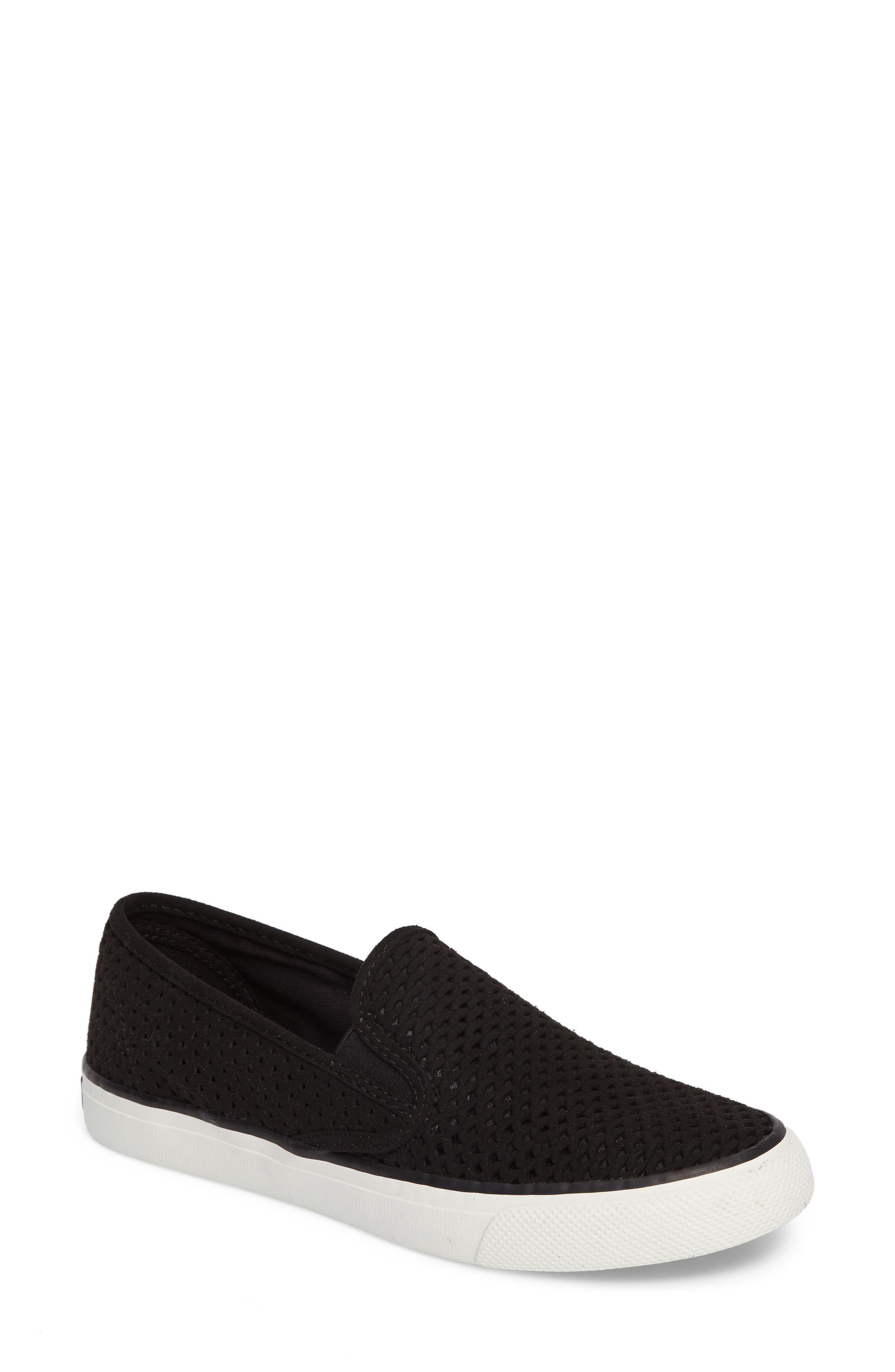 'Seaside' Perforated Slip-On Sneaker,                         Main,                         color, Black/ Black Leather