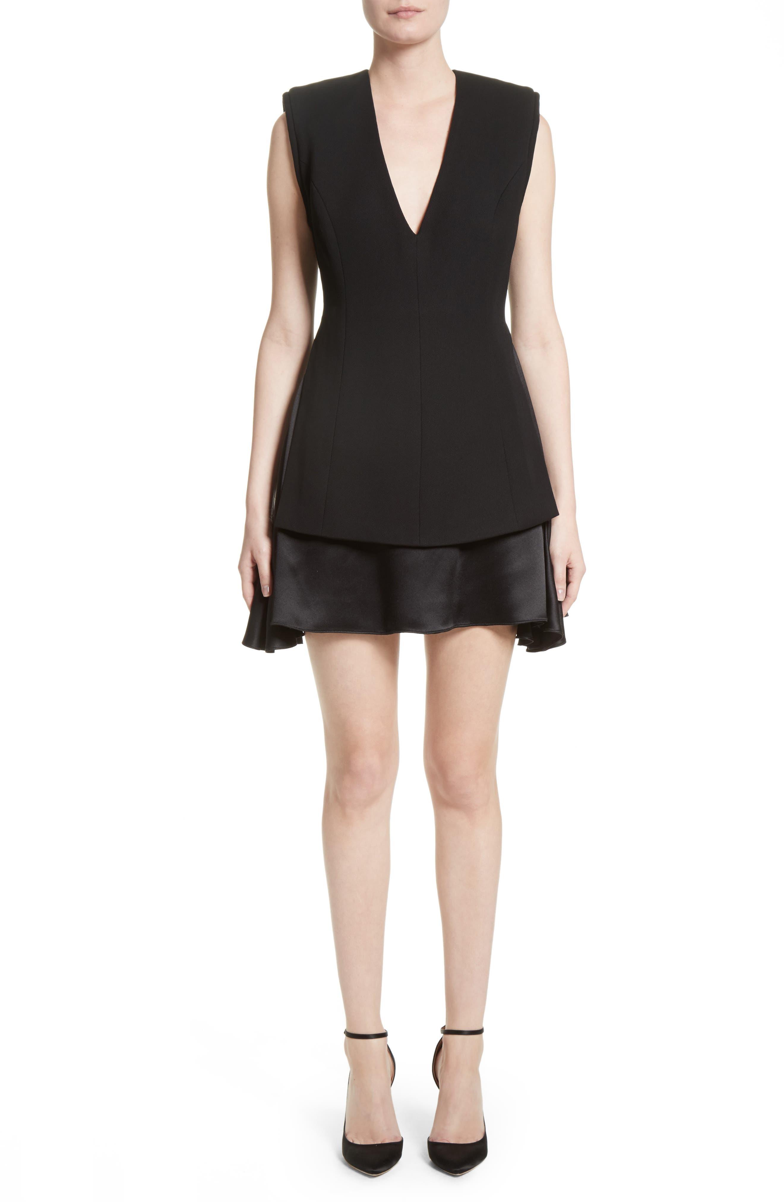 Mixed Media V-Neck Dress,                         Main,                         color, Black