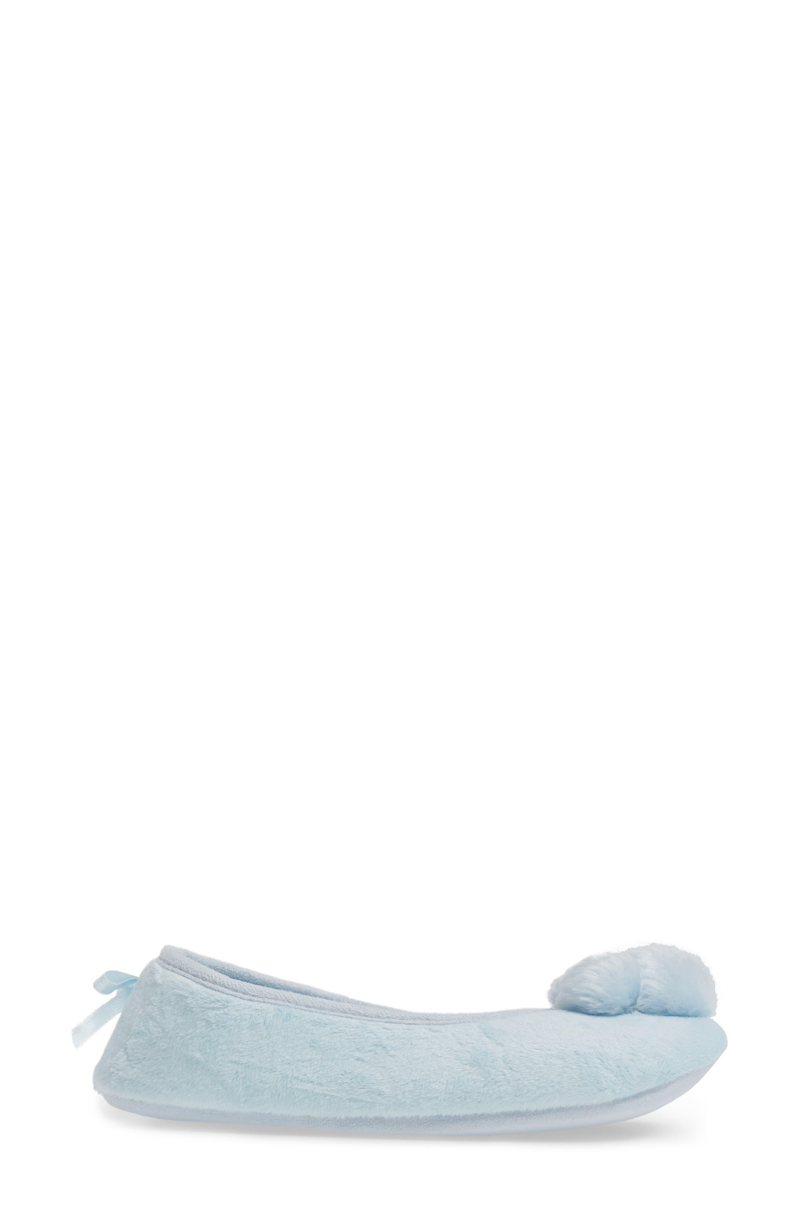 Plush Pompom Slipper,                             Alternate thumbnail 3, color,                             Blue