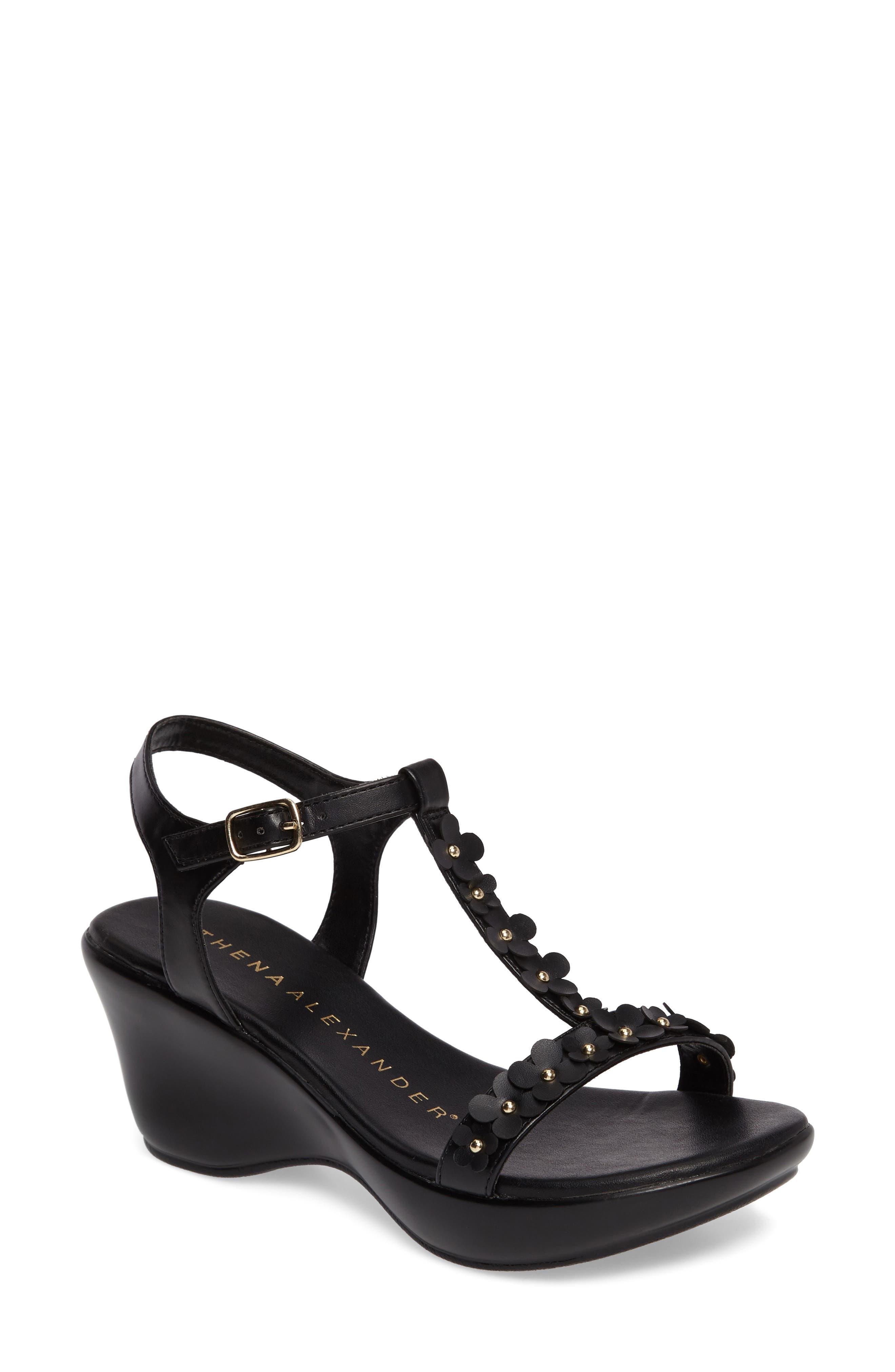 Evelina Sandal,                         Main,                         color, Black Faux Leather