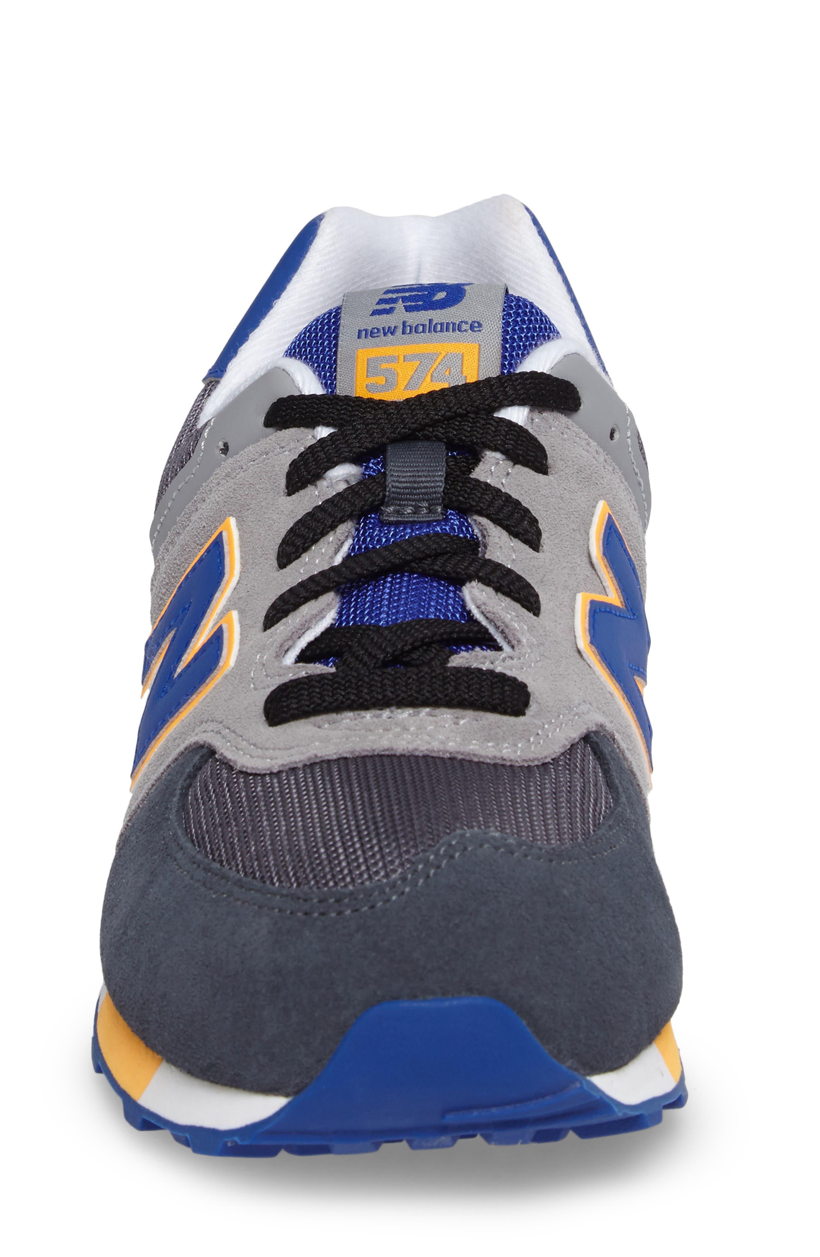 574 Cut & Paste Sneaker,                             Alternate thumbnail 4, color,                             Grey/ Blue