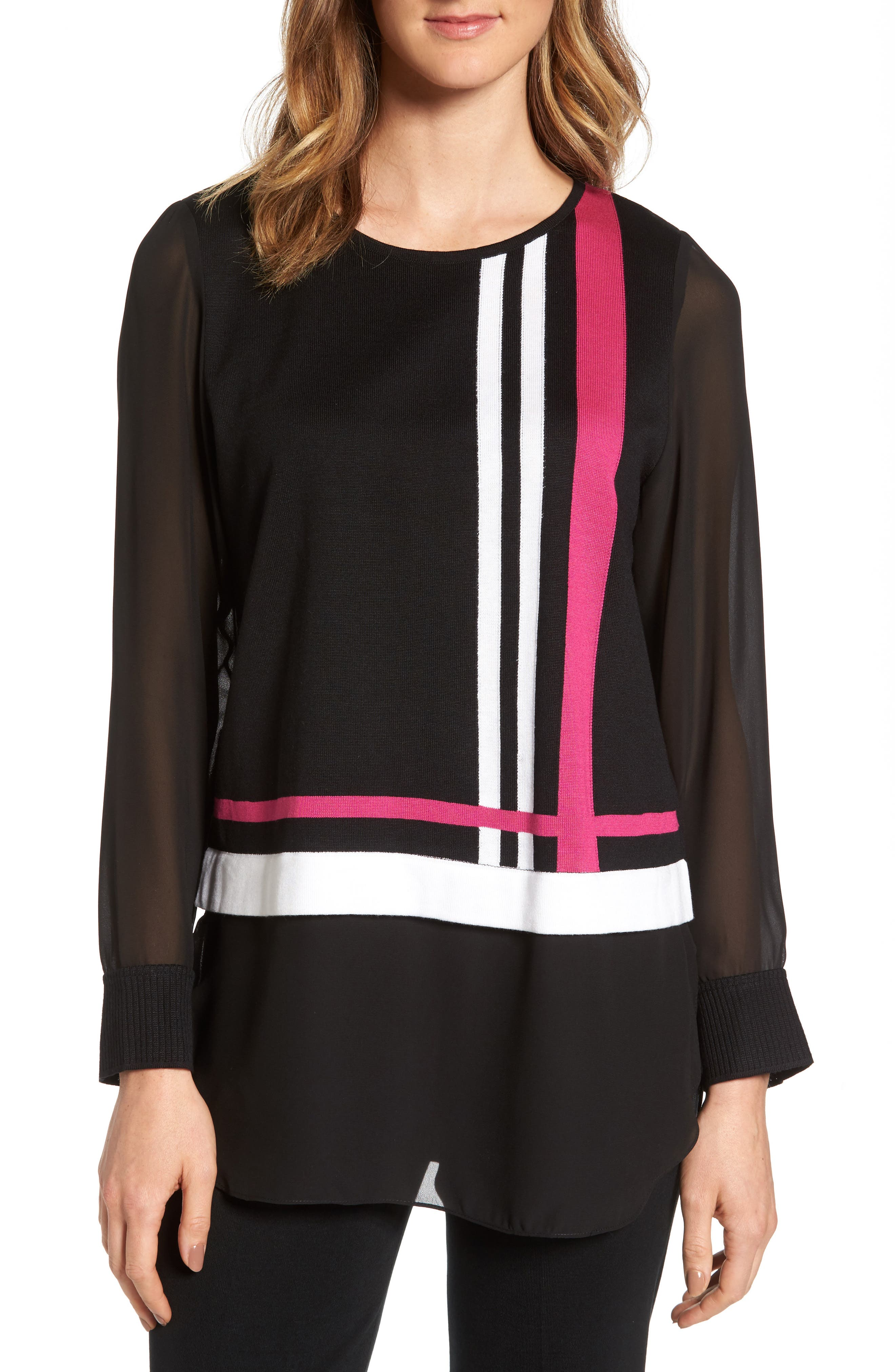 Layered Look Tunic,                         Main,                         color, Black/ Orchid/ Ivory