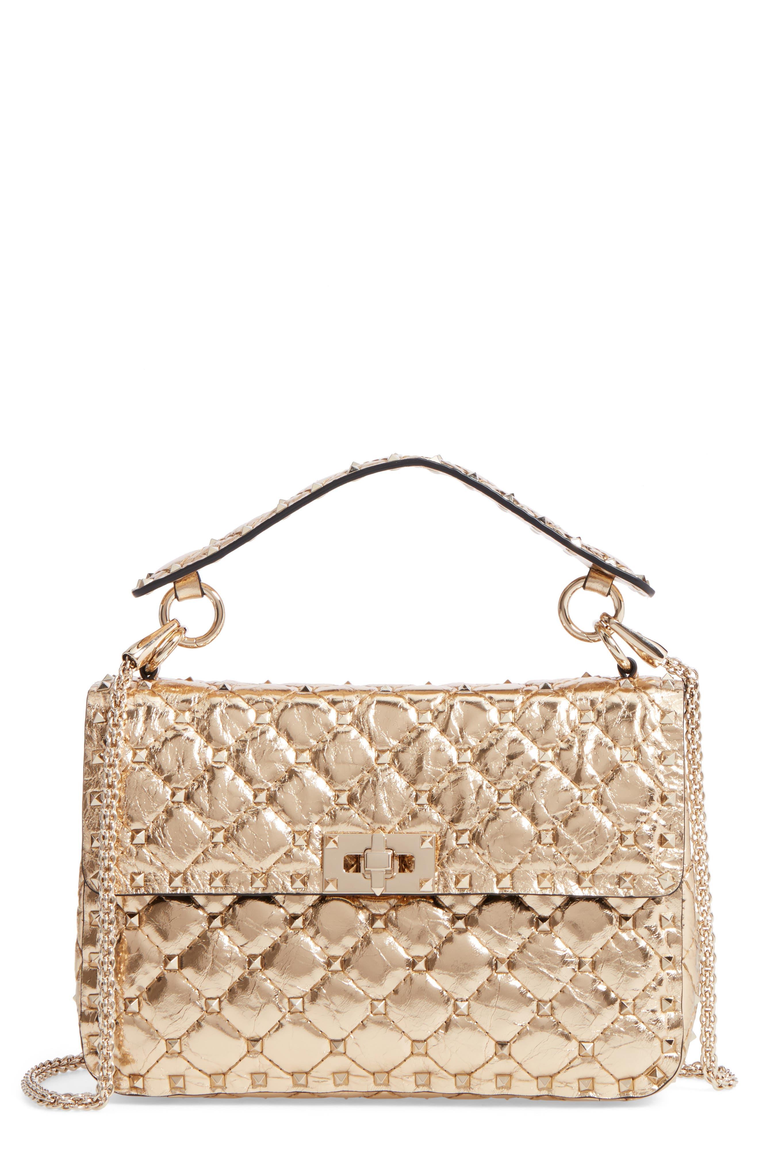 Matelassé Rockstud Spike Leather Top Handle Bag,                         Main,                         color, Mekong
