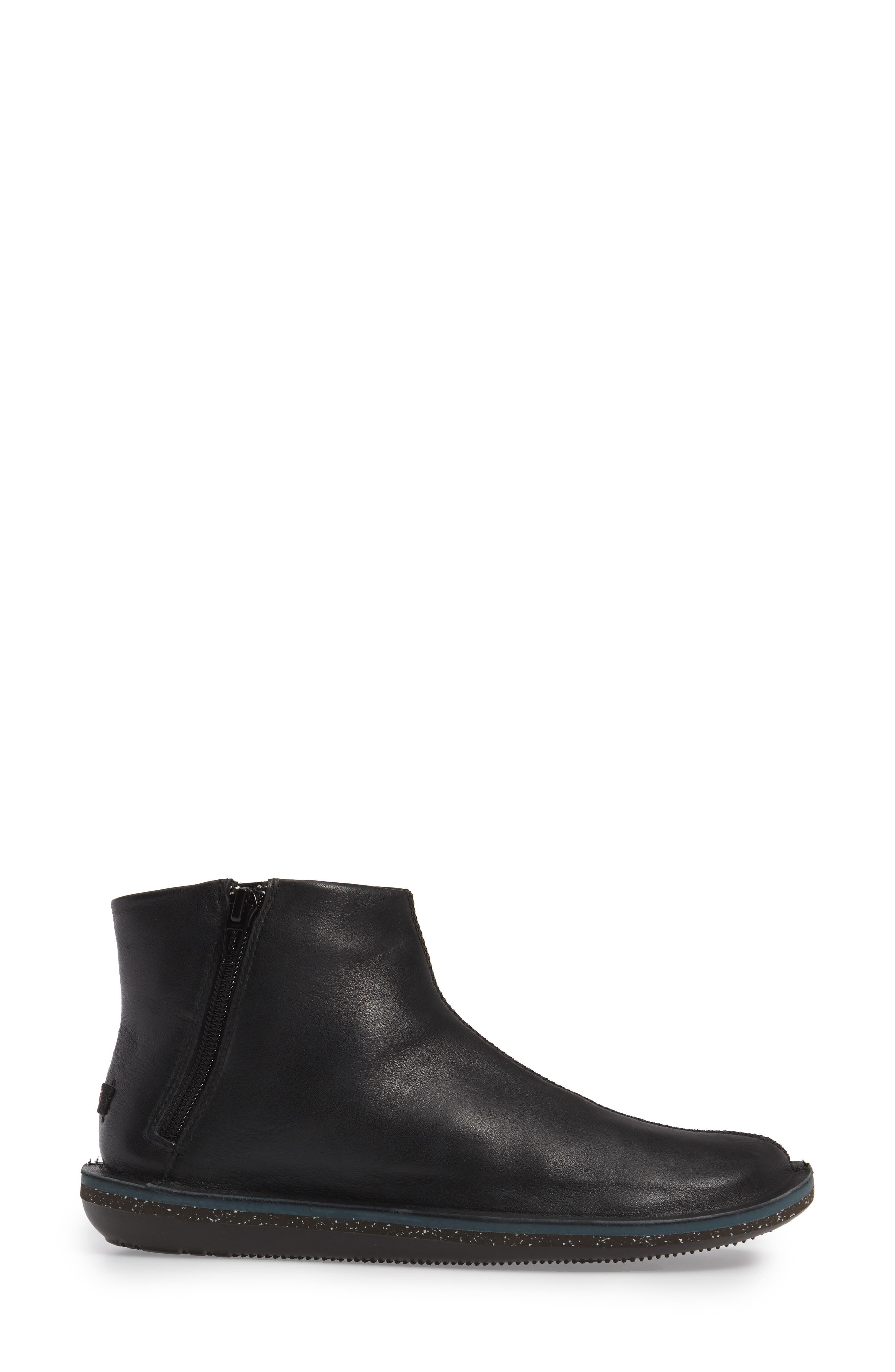 'Beetle' Ankle Bootie,                             Alternate thumbnail 3, color,                             Black Leather