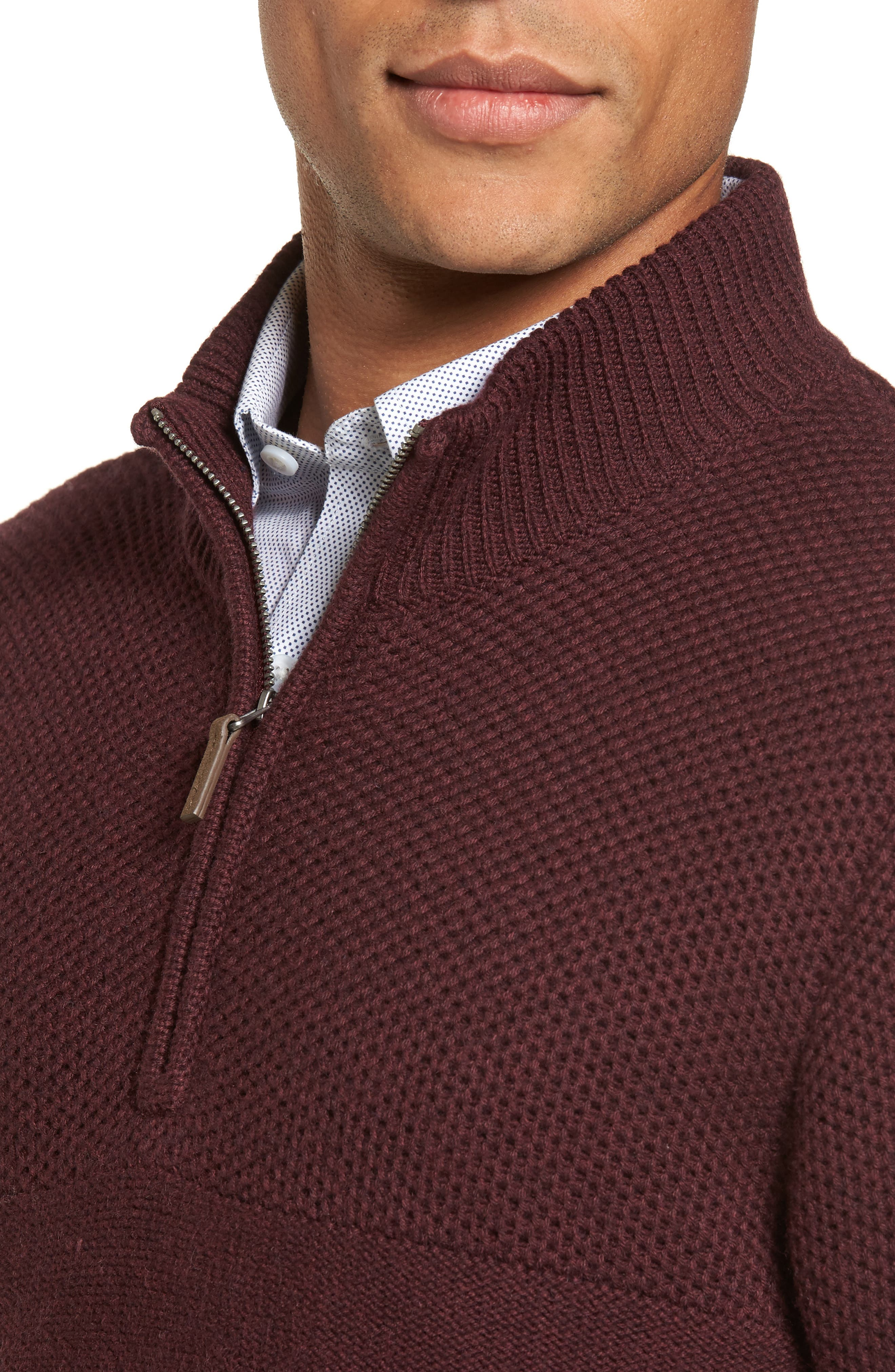 Alternate Image 4  - Nordstrom Men's Shop Texture Cotton & Cashmere Quarter Zip Sweater (Regular & Tall)