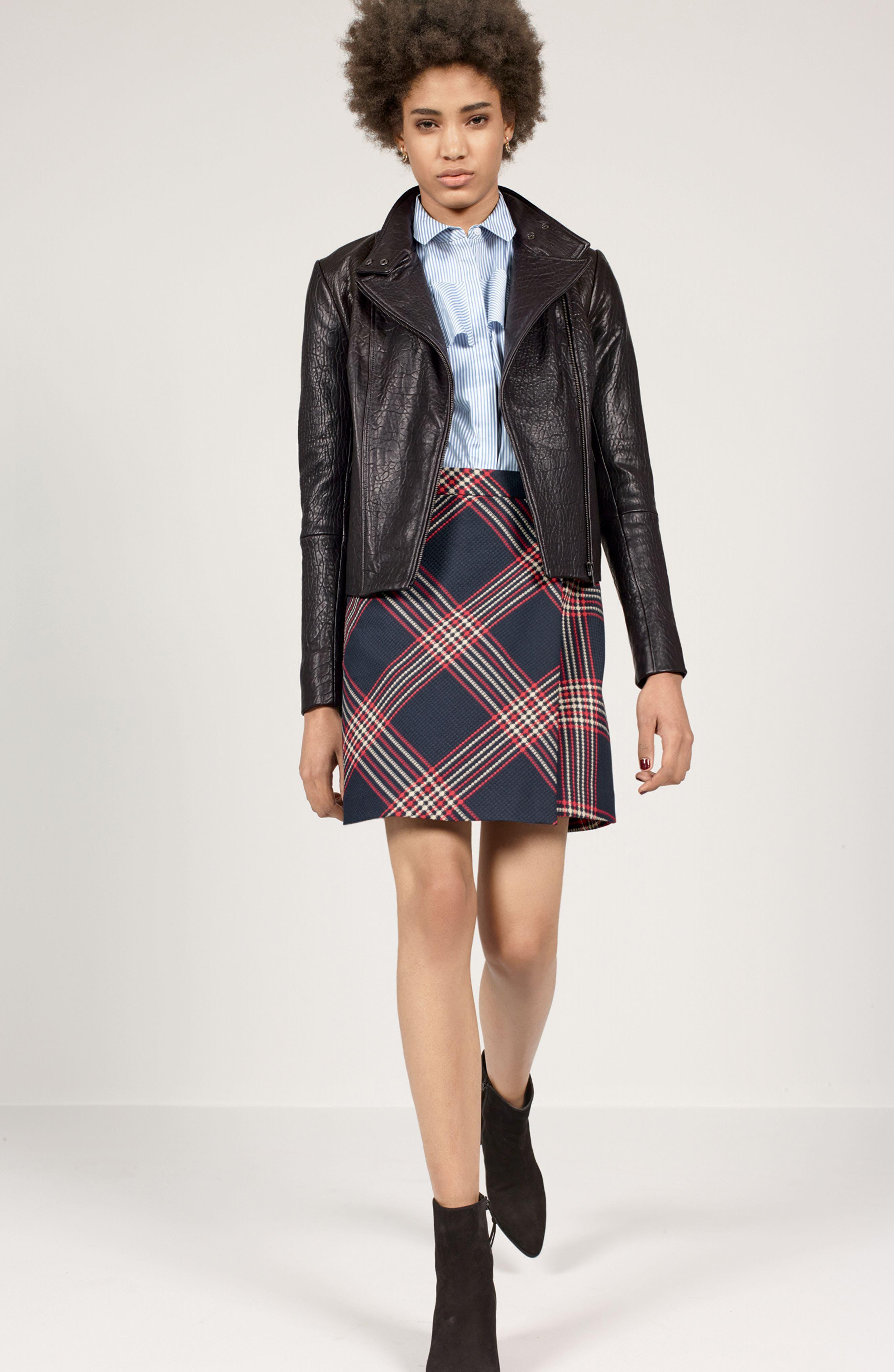 Alternate Image 2  - Halogen® Leather Jacket (Regular & Petite)