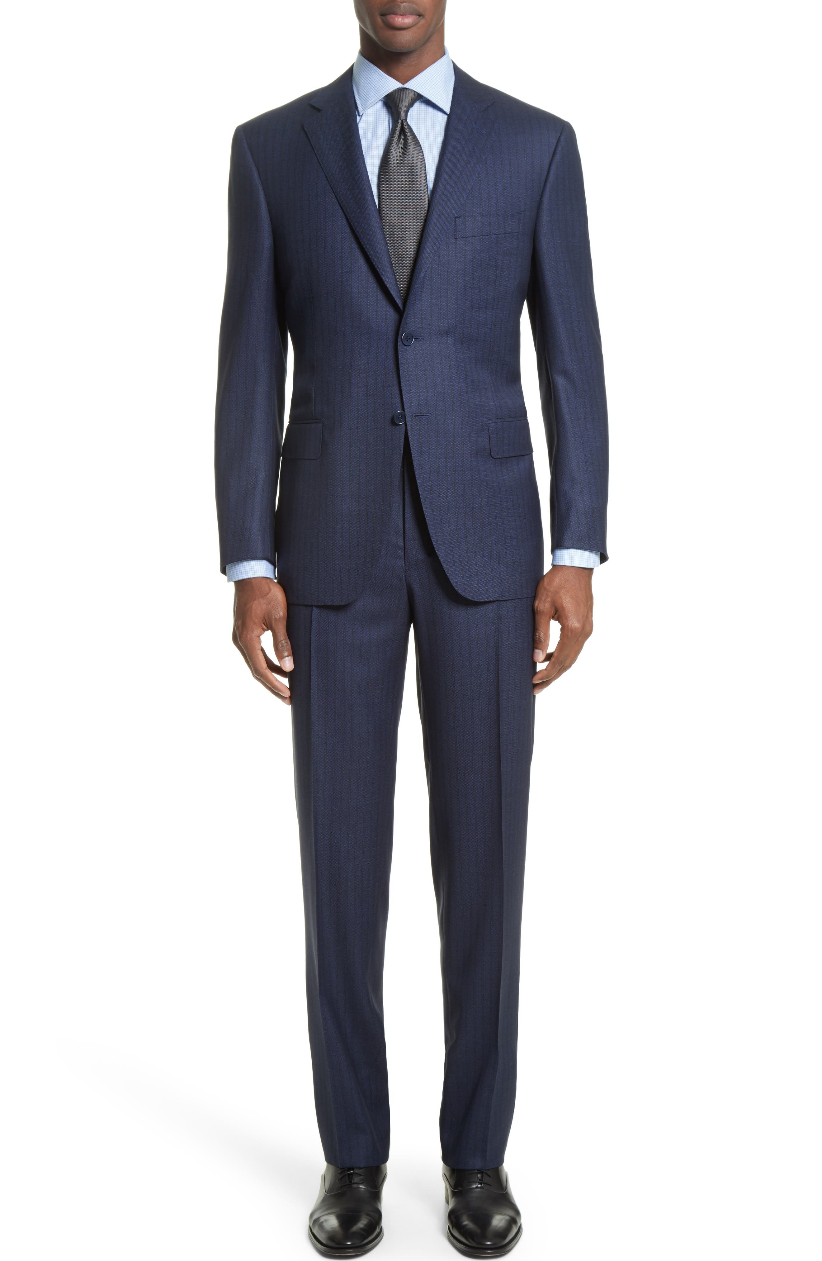 Canali Classic Fit Nailhead Stripe Wool Suit