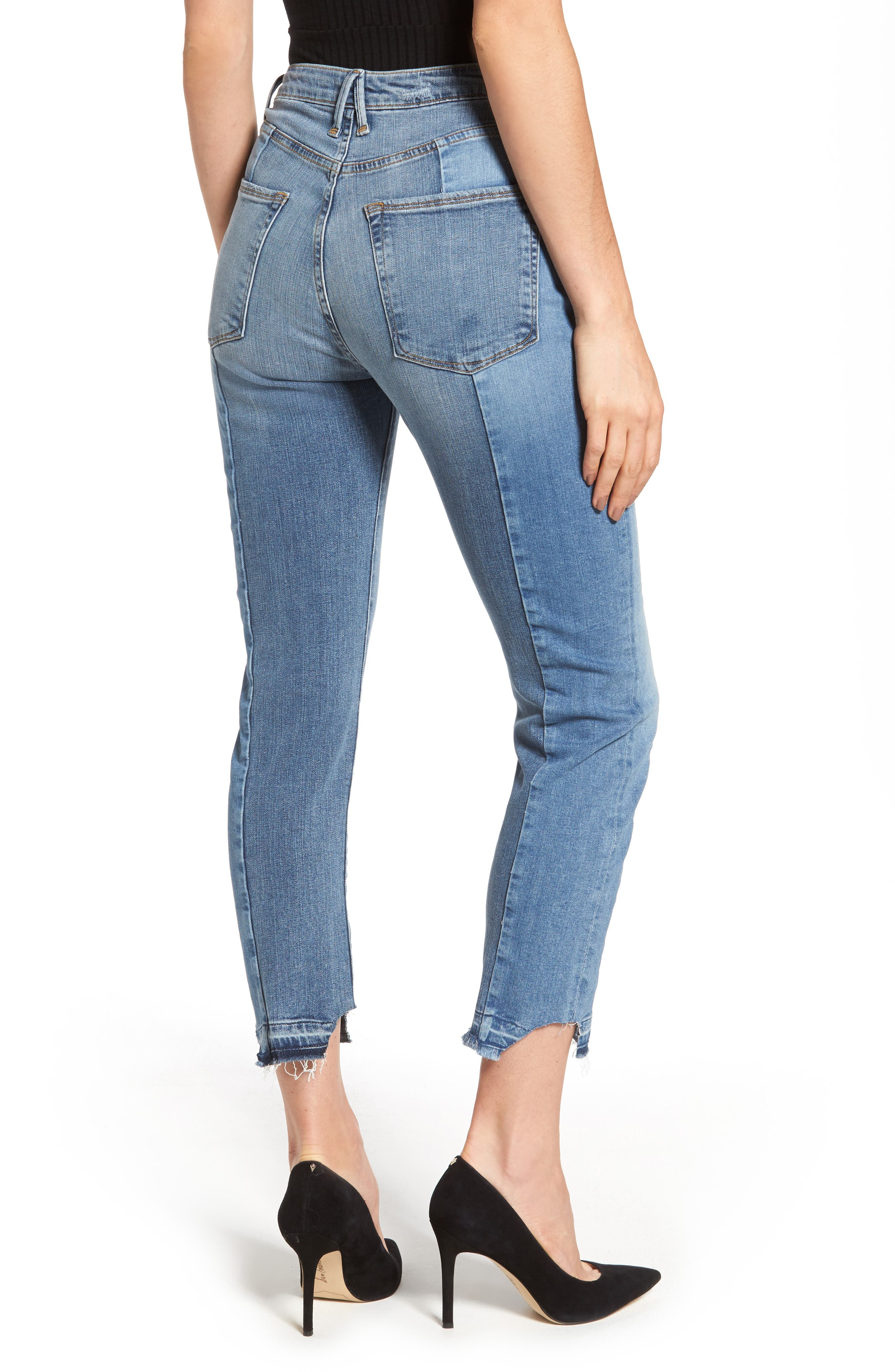 Alternate Image 2  - Good American Raw Hem High Waist Skinny Jeans (Blue 078) (Extended Sizes)