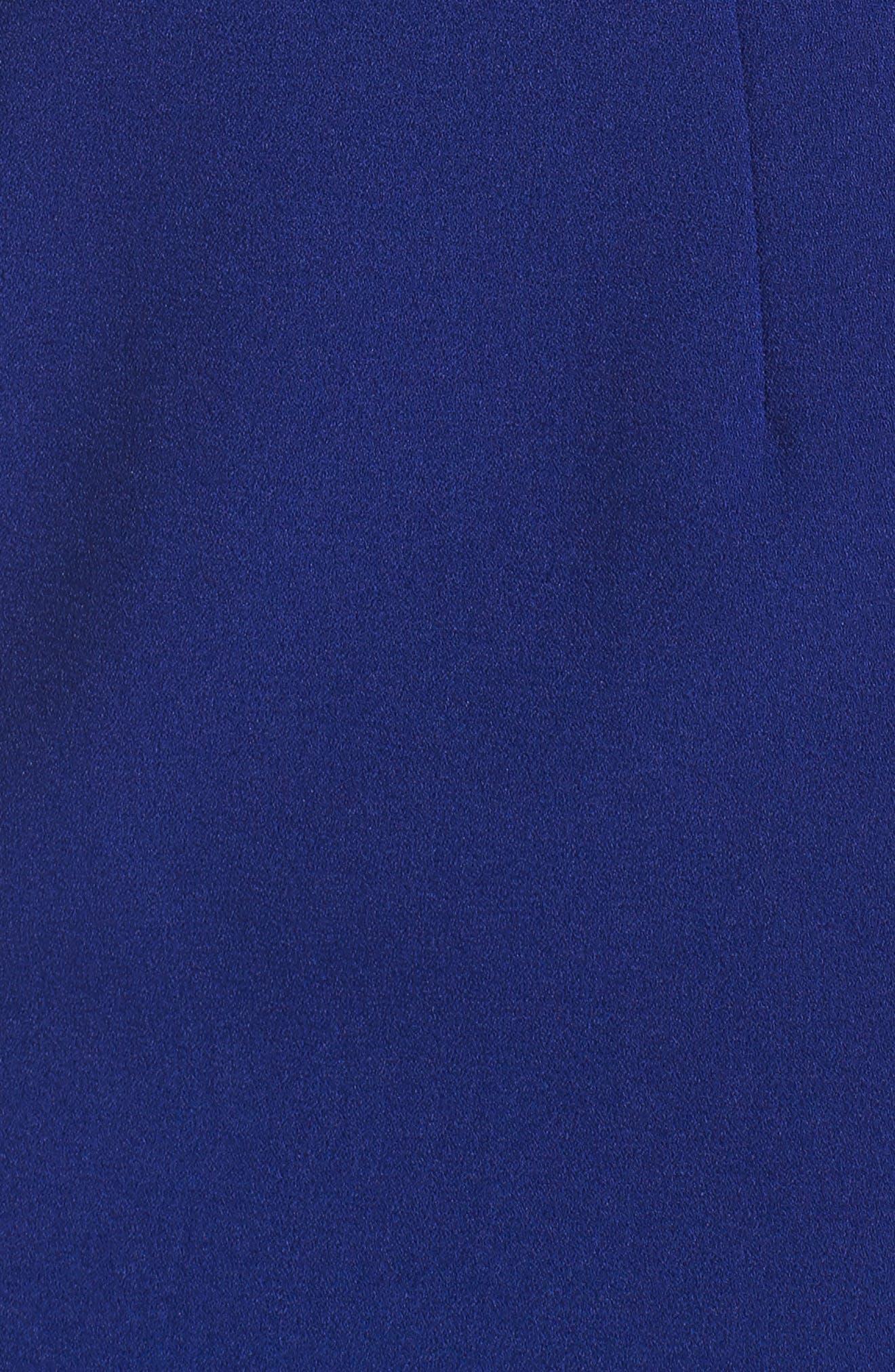 One-Shoulder Crepe Sheath Dress,                             Alternate thumbnail 5, color,                             Blue Cobalt