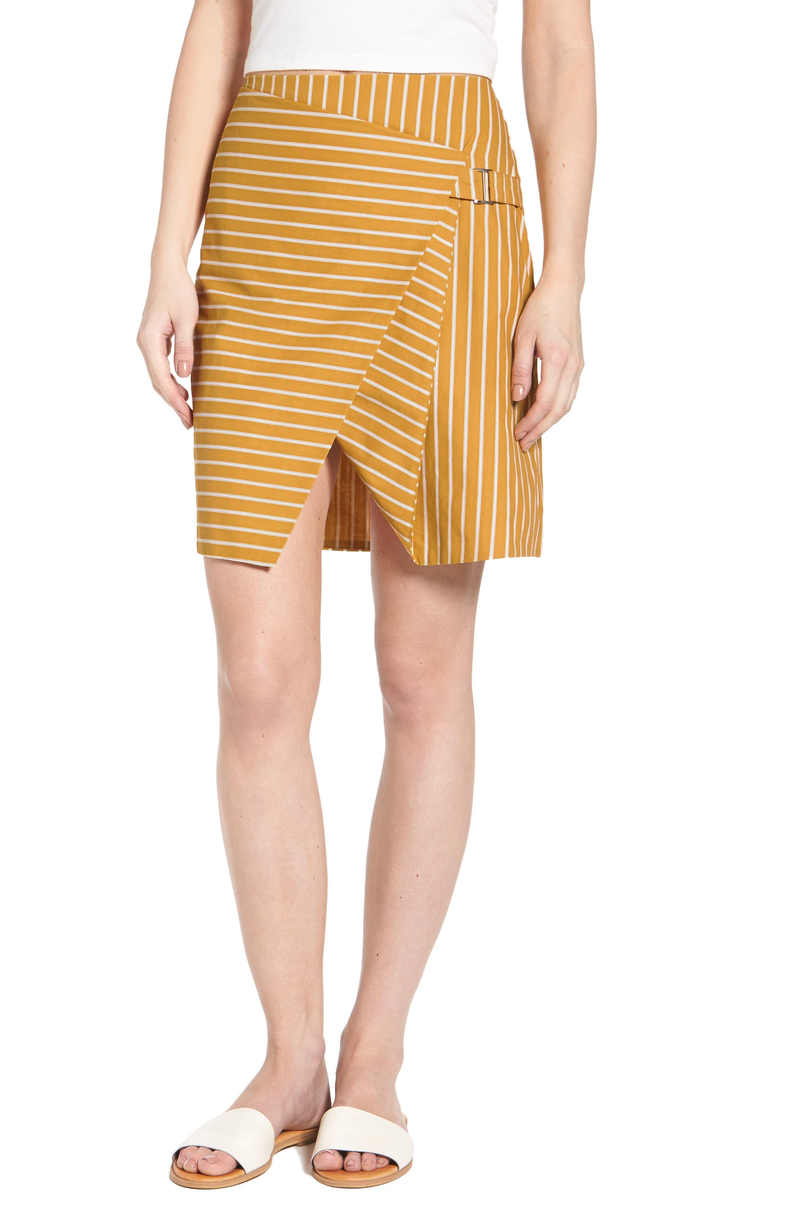 J.O.A. Asymmetrical Stripe Skirt