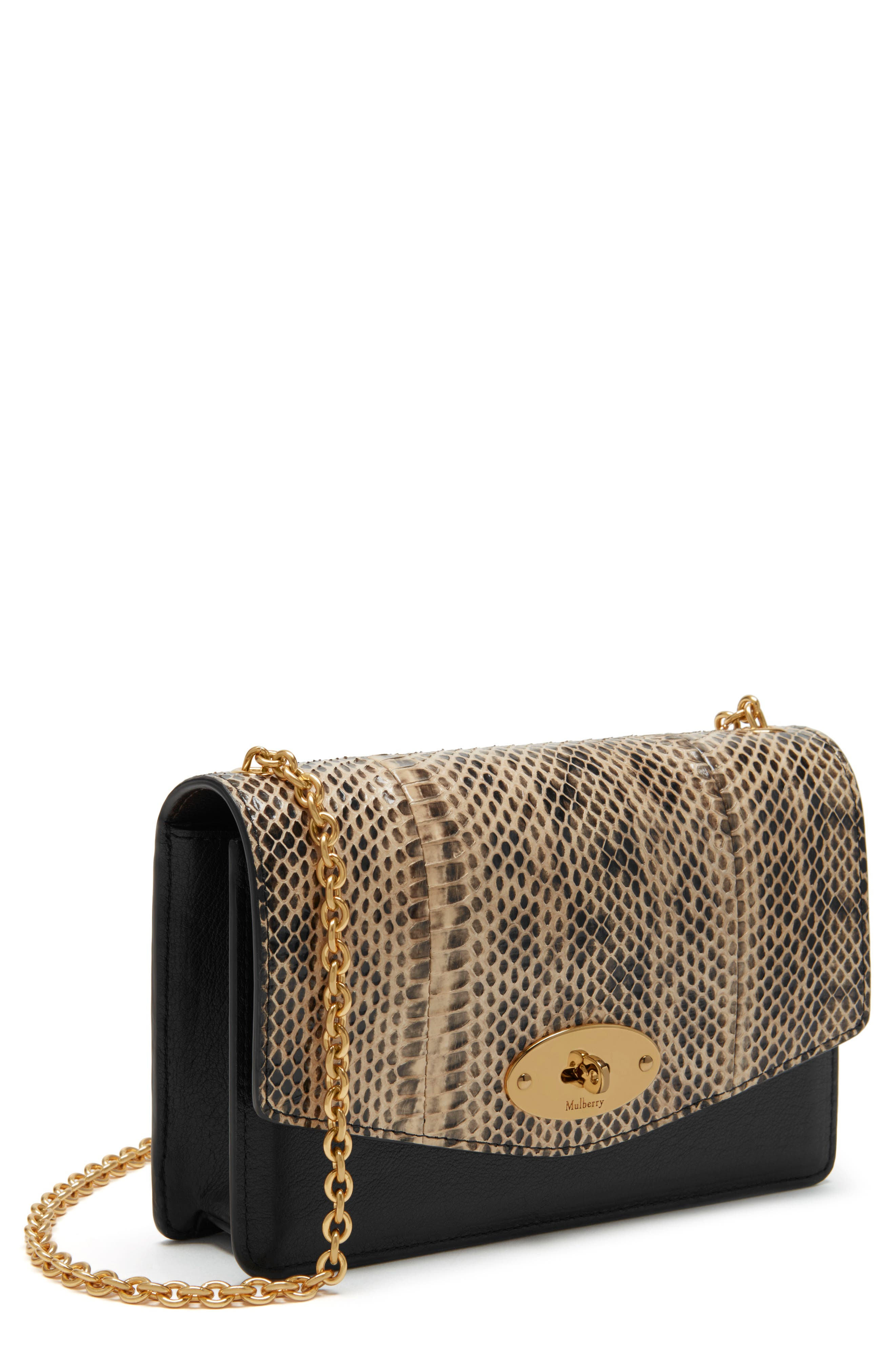 Mulberry Small Darley Convertible Genuine Snakeskin & Leather Clutch