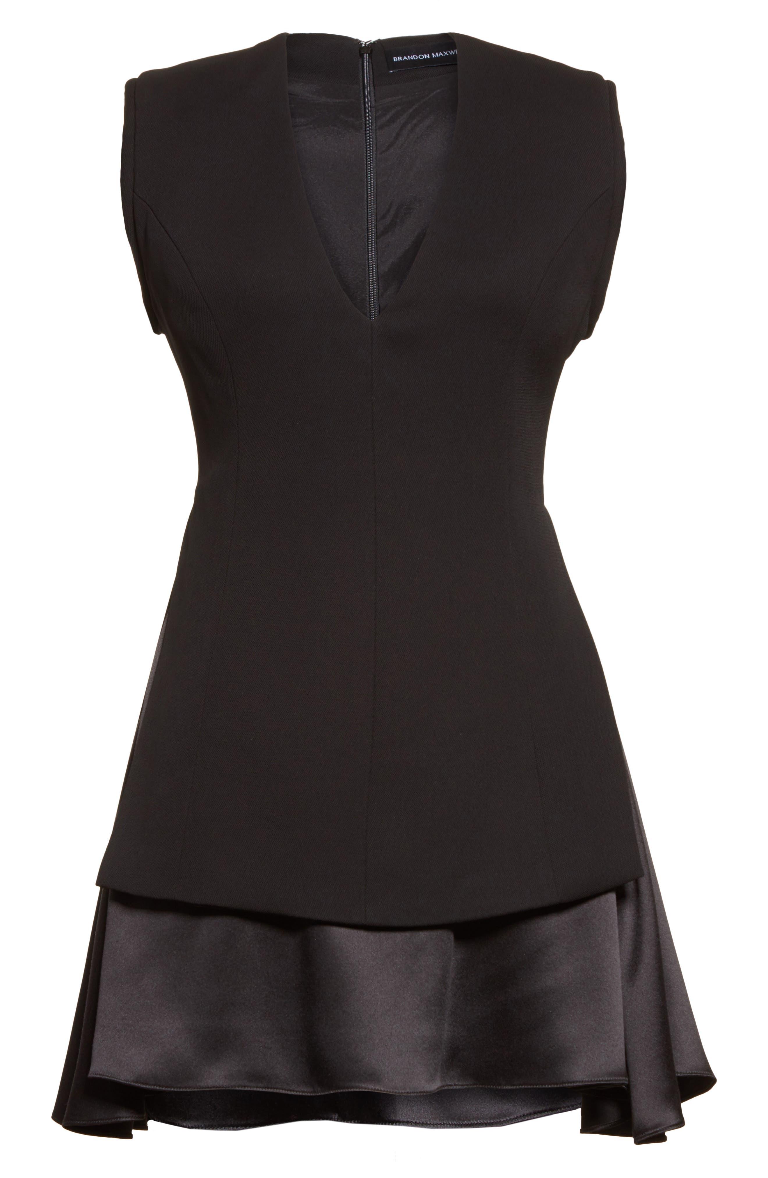 Mixed Media V-Neck Dress,                             Alternate thumbnail 4, color,                             Black