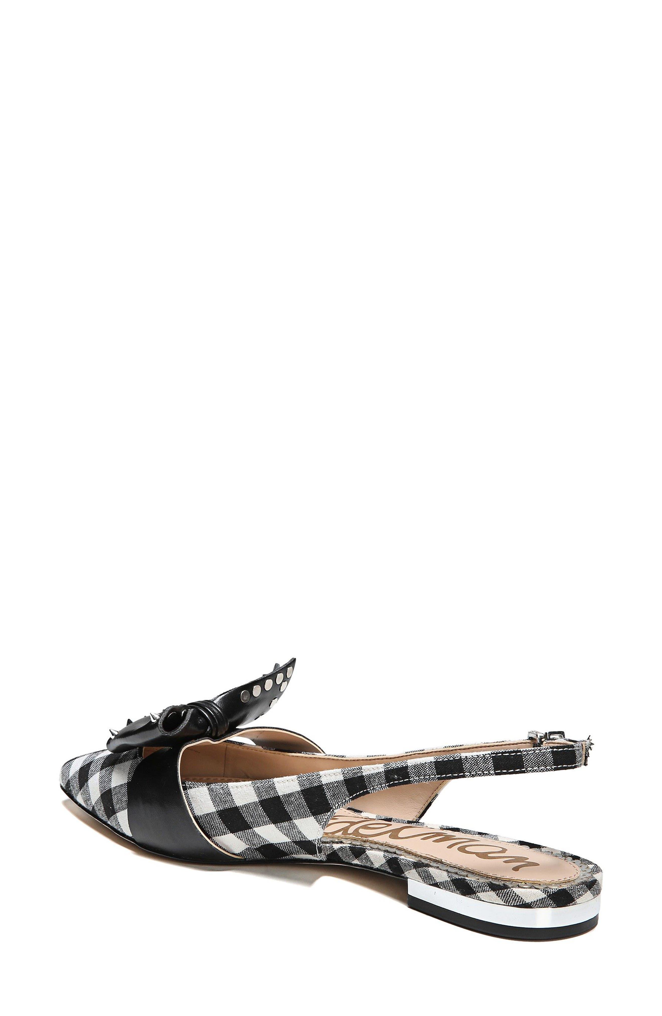 Rupert Bow Pointy Toe Flat,                             Alternate thumbnail 2, color,                             Black/ White Canvas