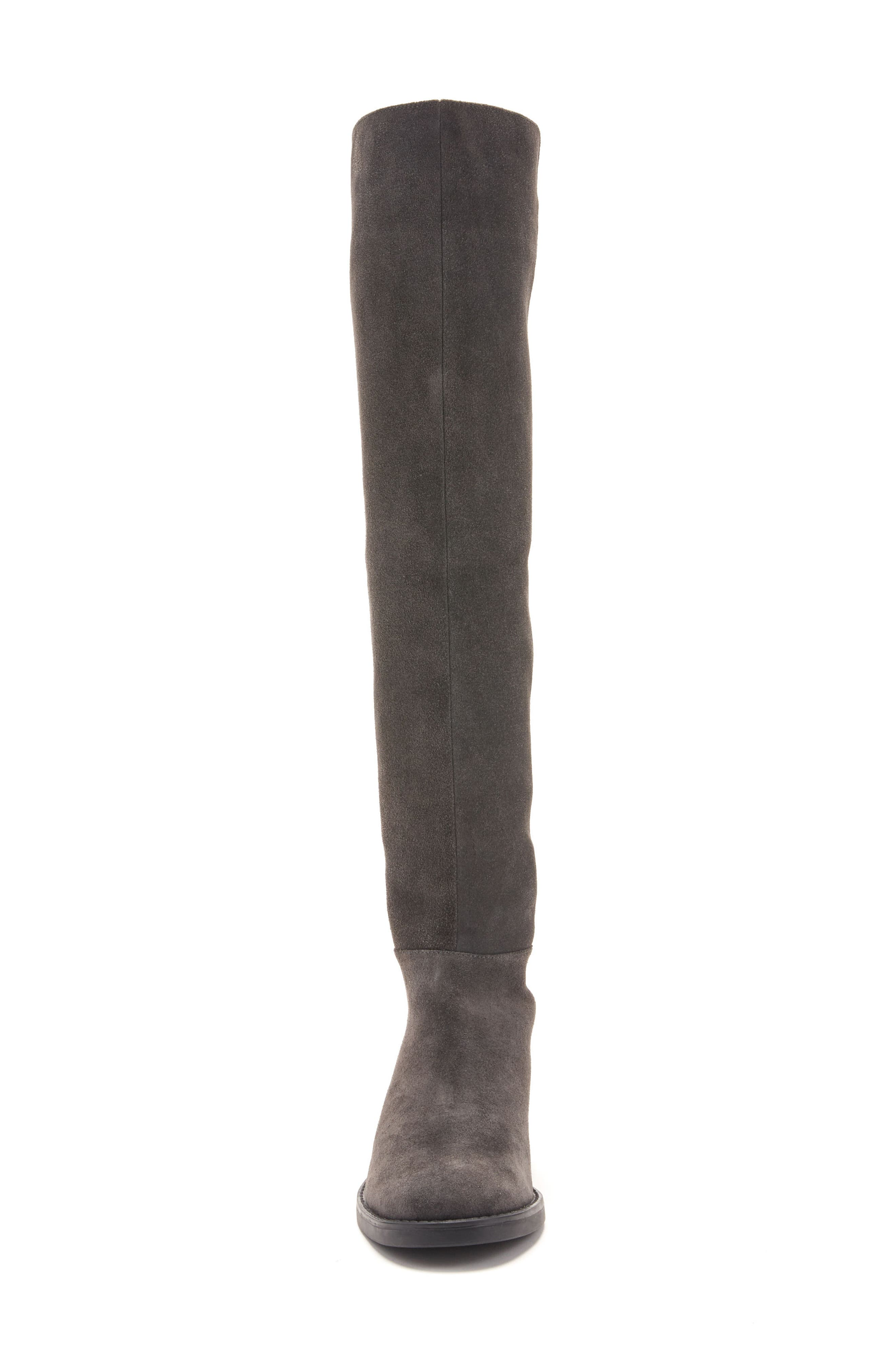 Olivia Knee High Boot,                             Alternate thumbnail 4, color,                             Grey Suede