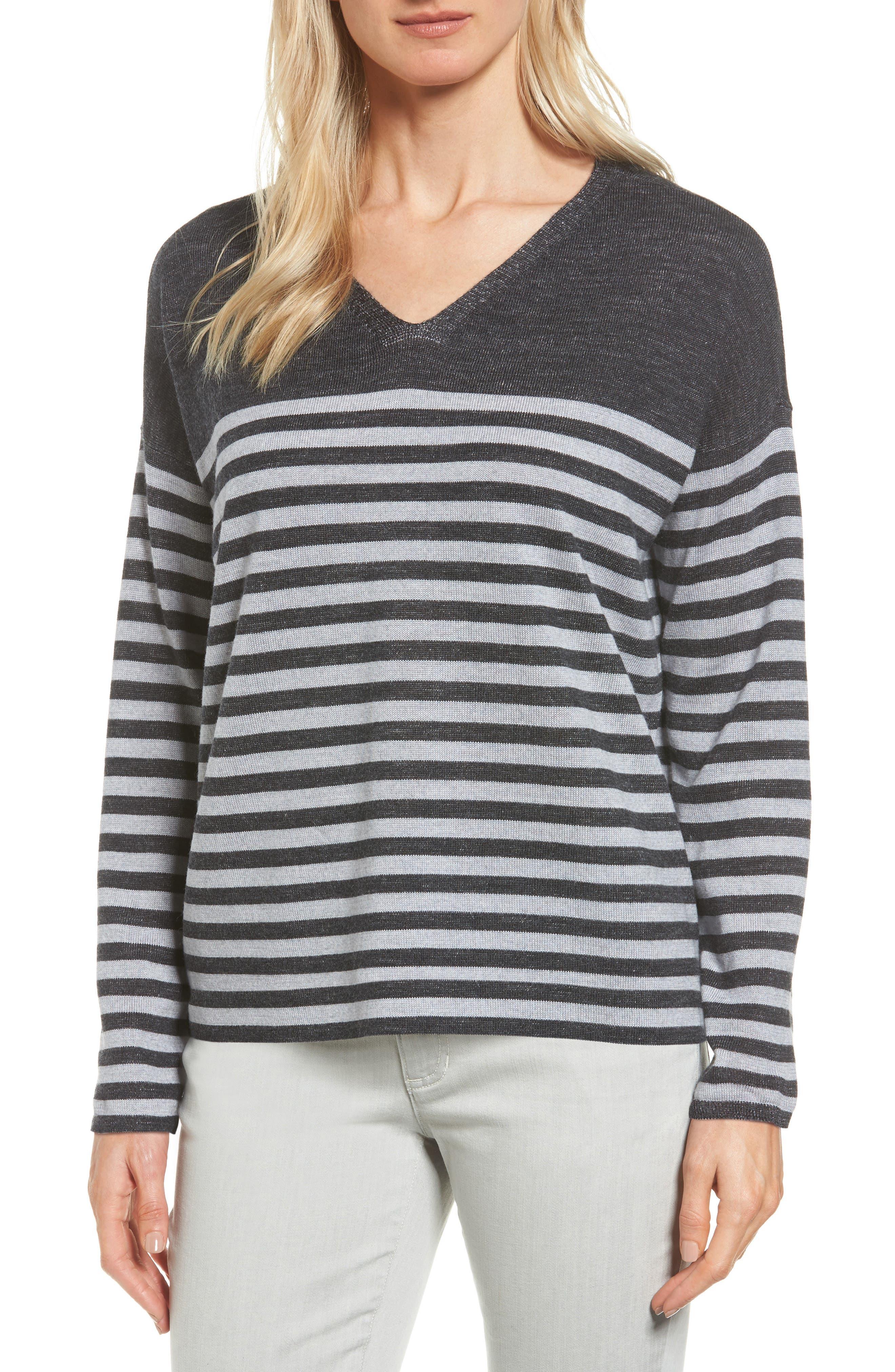 Alternate Image 1 Selected - Eileen Fisher Stripe Merino Wool Pullover (Regular & Petite)