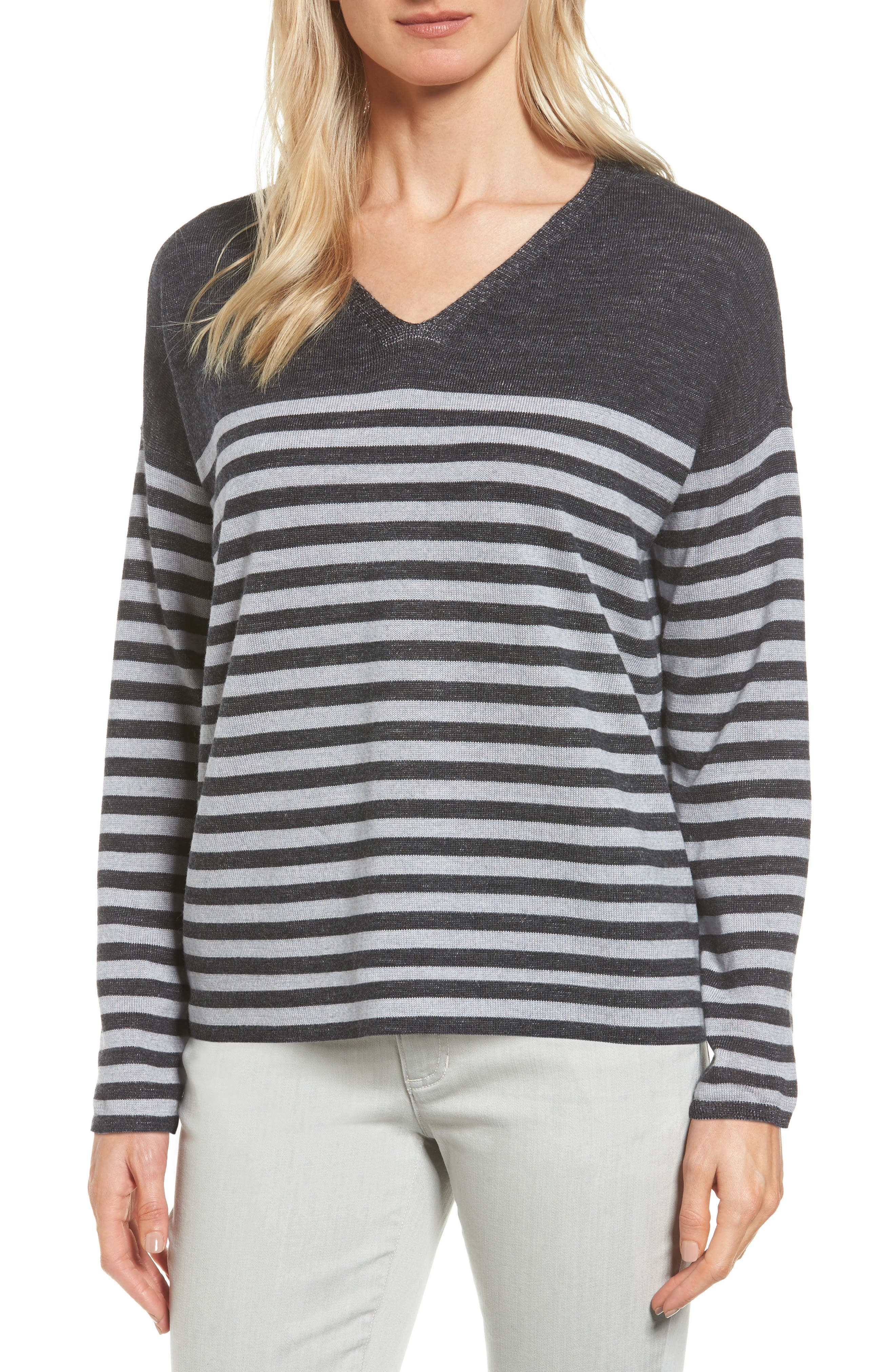 Stripe Merino Wool Pullover,                         Main,                         color, Charcoal/ Dark Pearl