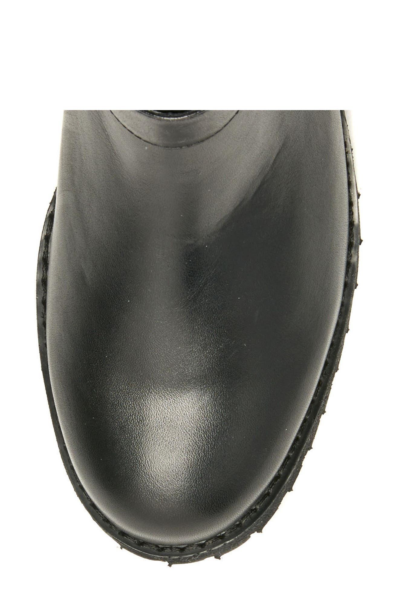 Lenie Waterproof Moto Boot,                             Alternate thumbnail 5, color,                             Black Leather