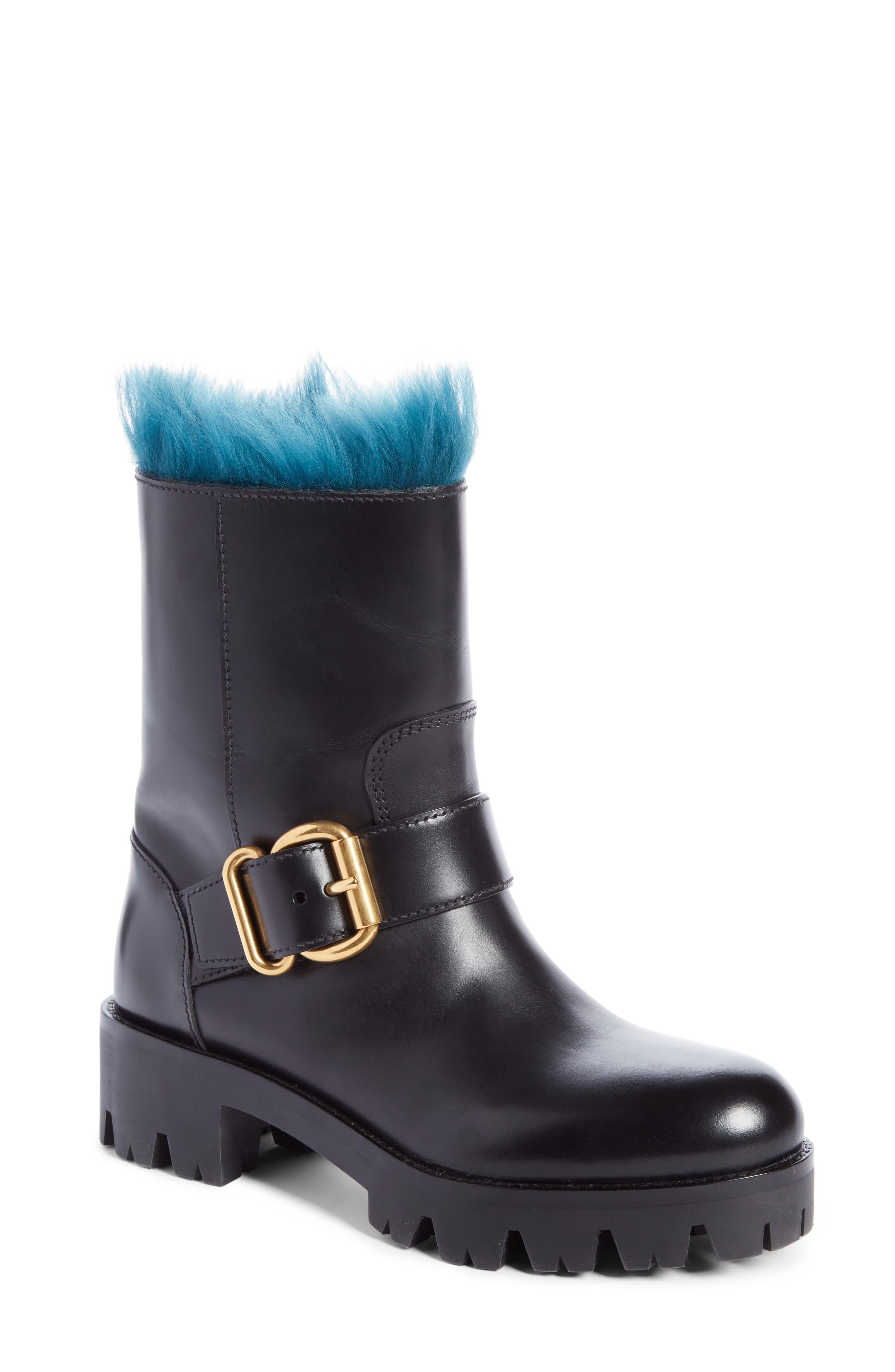 Genuine Shearling Lined Boot,                             Main thumbnail 1, color,                             Black