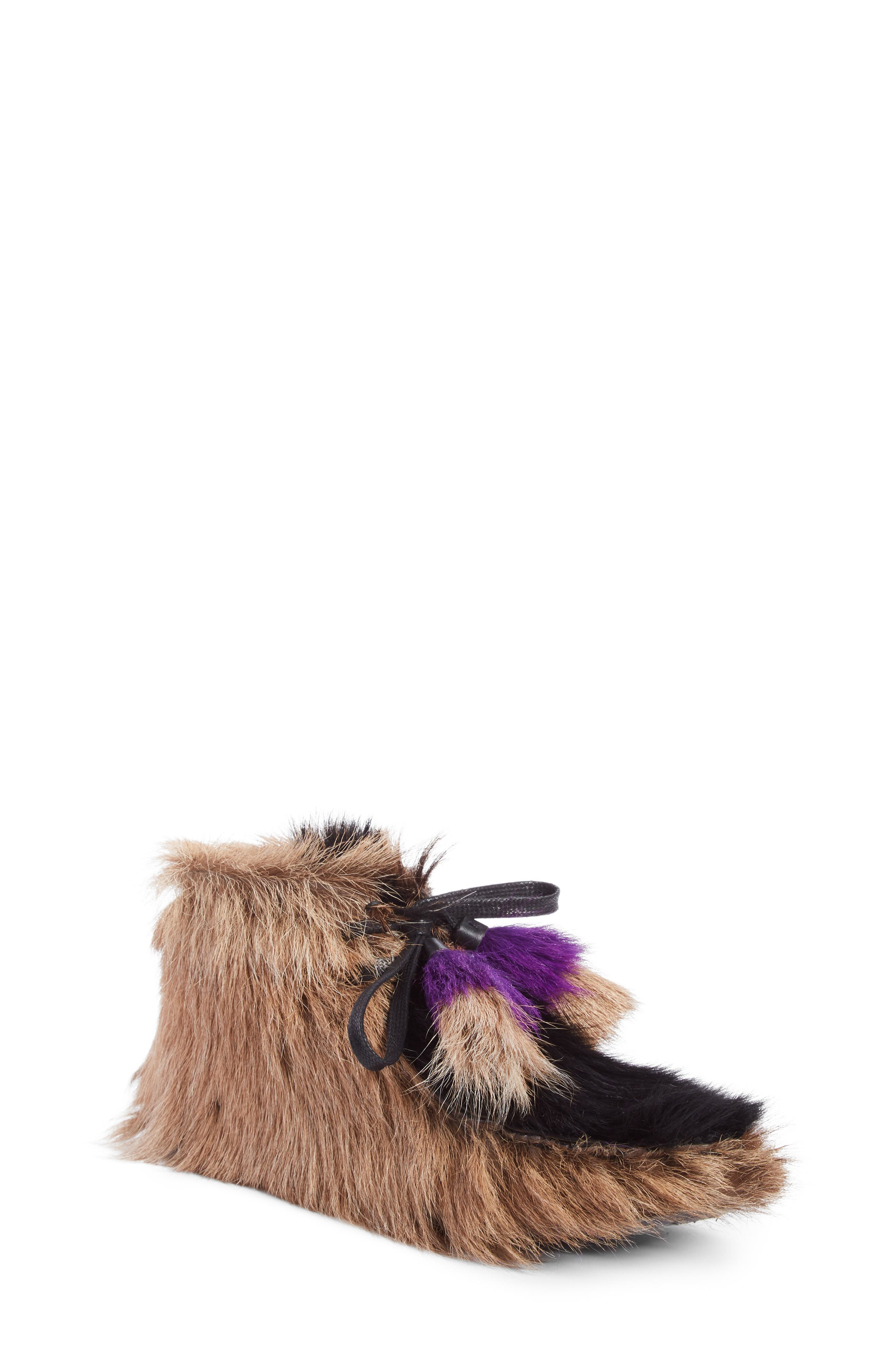 Genuine Shearling and Goat Hair Bootie,                         Main,                         color, Beige Multi