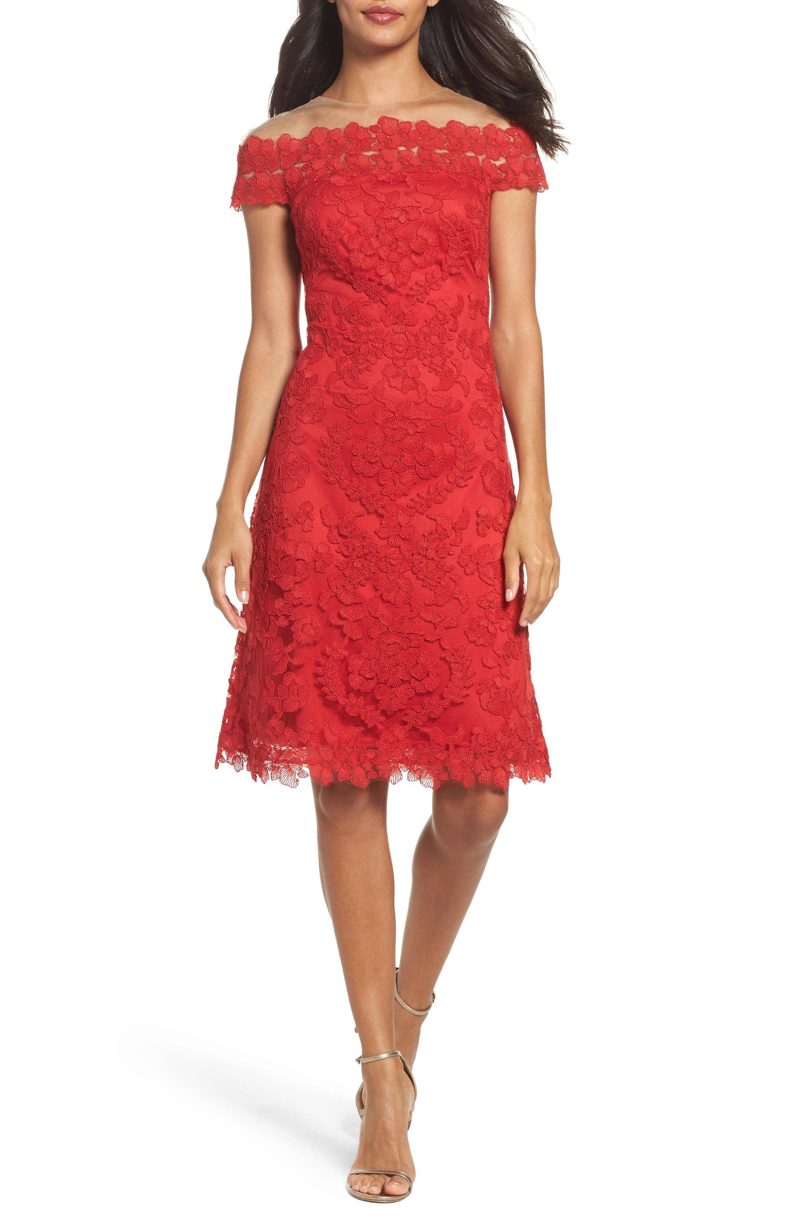 Embroidered Sheath Dress,                         Main,                         color, Deep Red