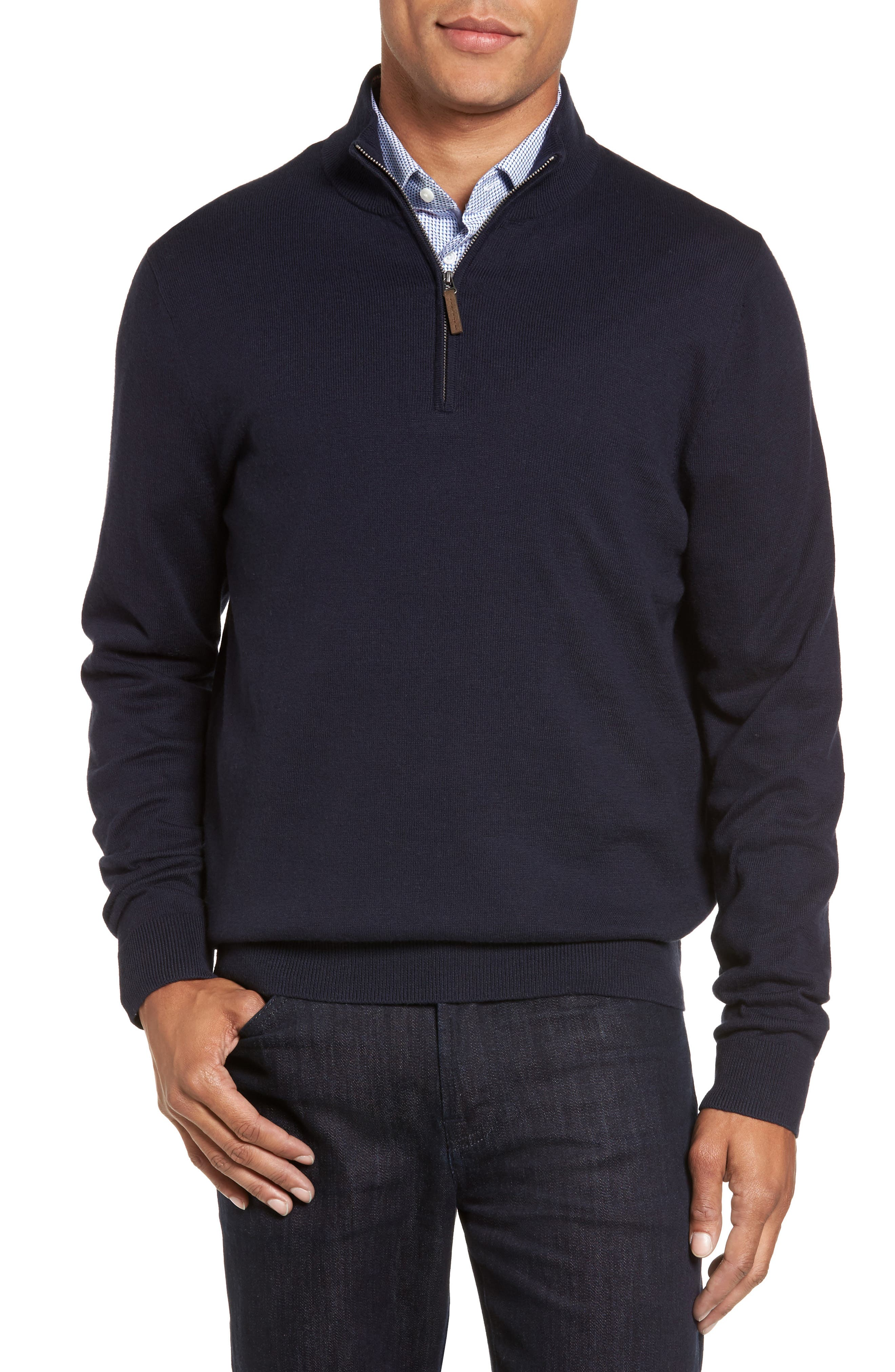 Half Zip Cotton & Cashmere Pullover,                             Main thumbnail 1, color,                             Navy Night