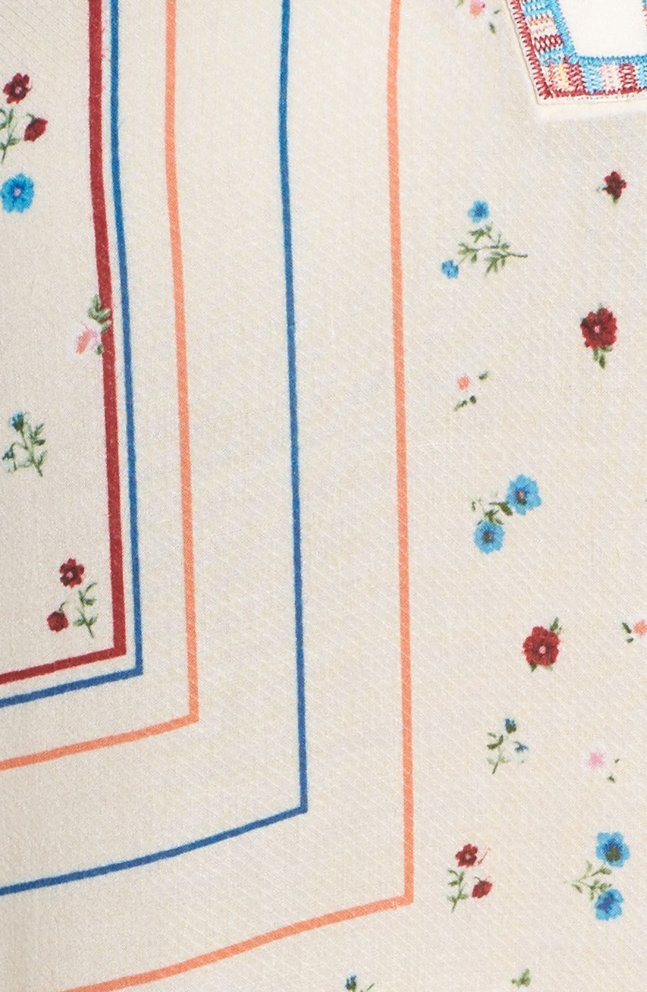 Embroidered Cold Shoulder Top,                             Alternate thumbnail 5, color,                             Ivory