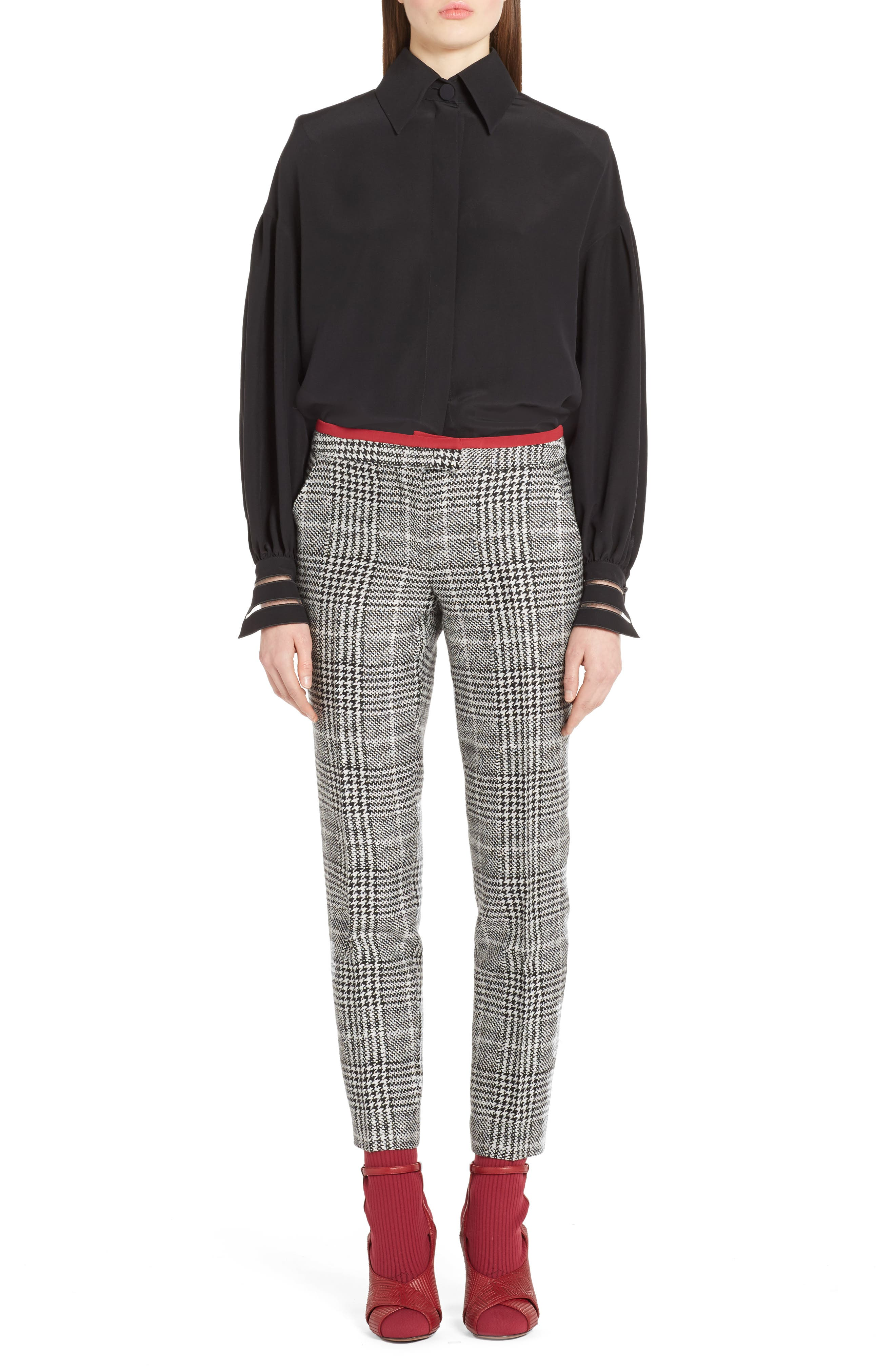 Prince of Wales Print Crop Pants,                             Alternate thumbnail 6, color,                             Black/ White