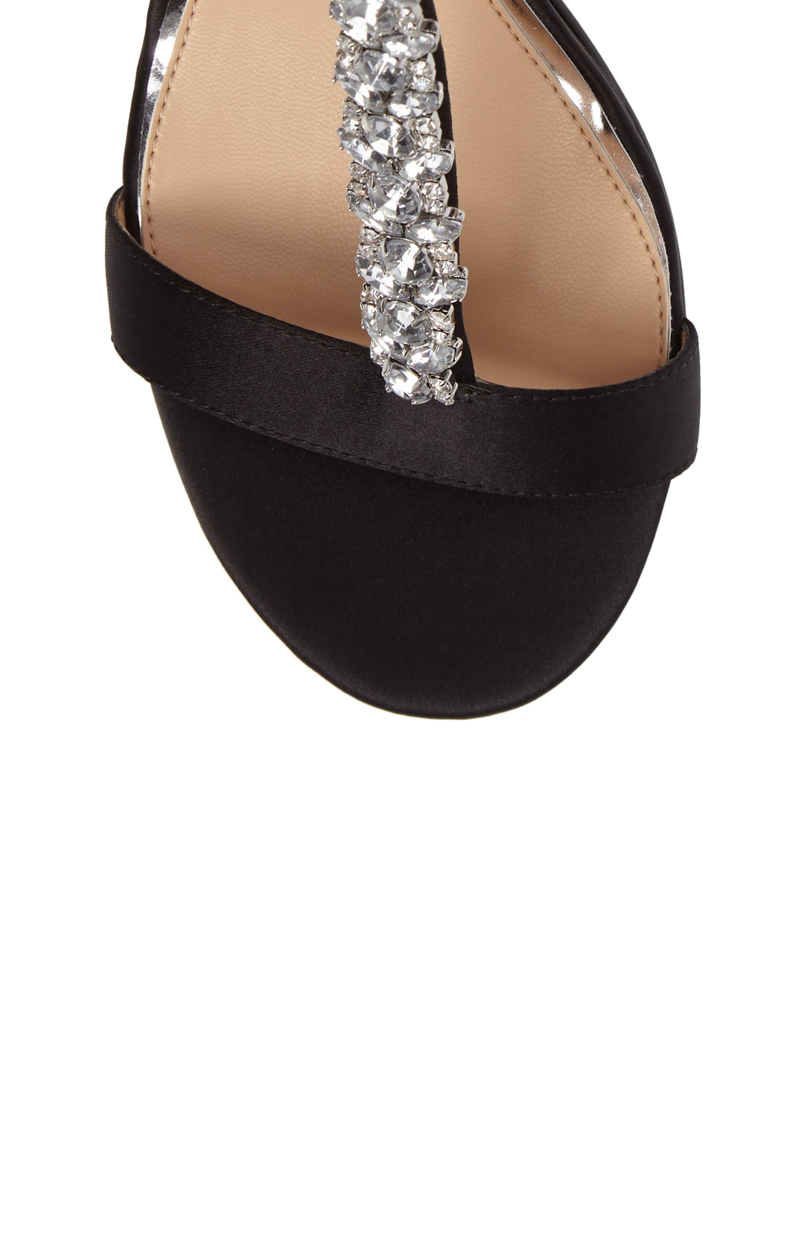 Lindsey Embellished T-Strap Sandal,                             Alternate thumbnail 3, color,                             Black Satin