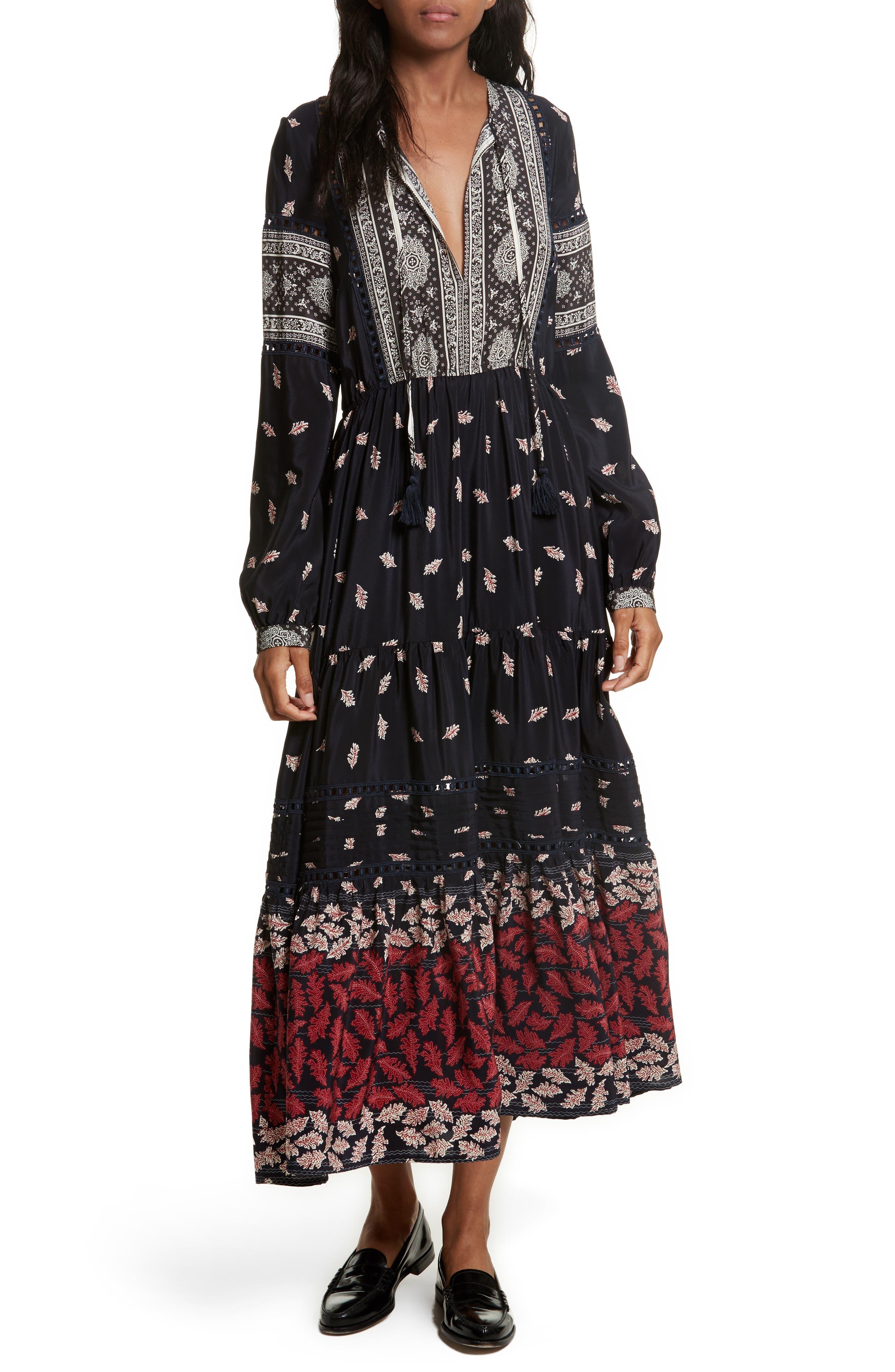 Eloise Print Silk Maxi Dress,                             Main thumbnail 1, color,                             Navy/ Red/ Cream Multi