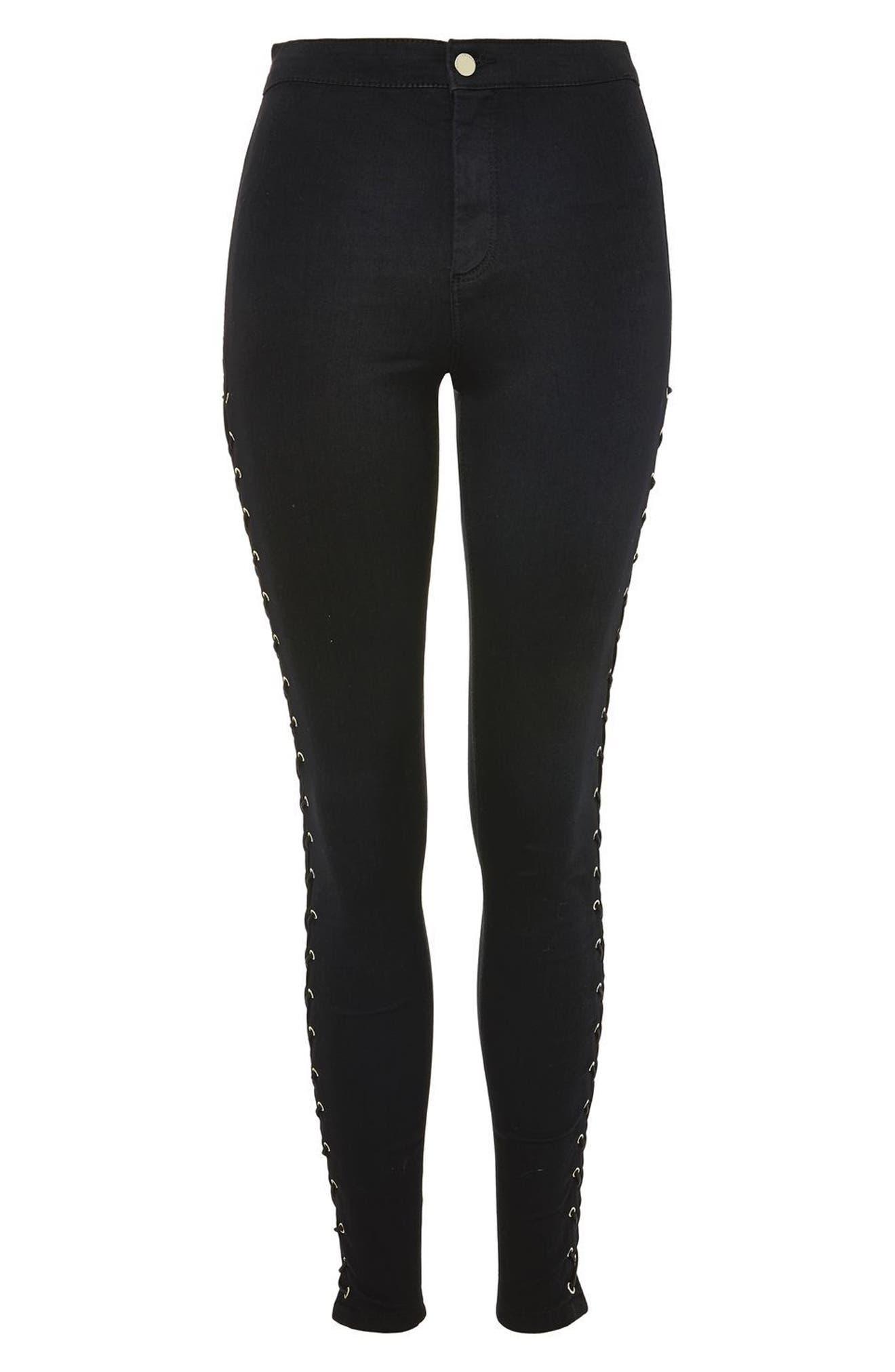 Alternate Image 4  - Topshop Joni Side Lace-Up Ankle Skinny Jeans