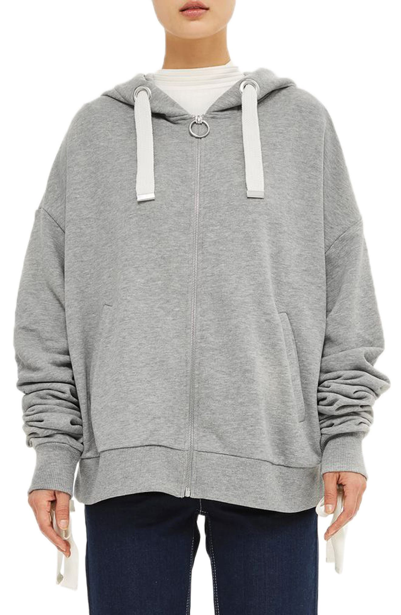 Topshop Boutique Ruched Sleeve Hoodie