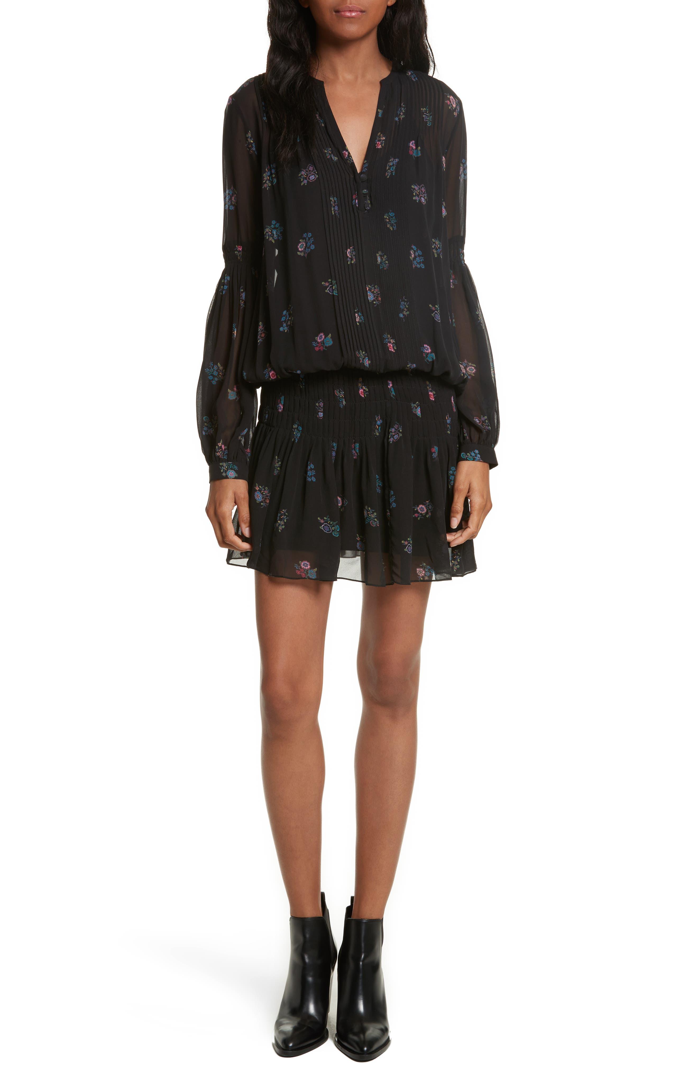Veronica Beard Alden Print Silk Drop Waist Dress