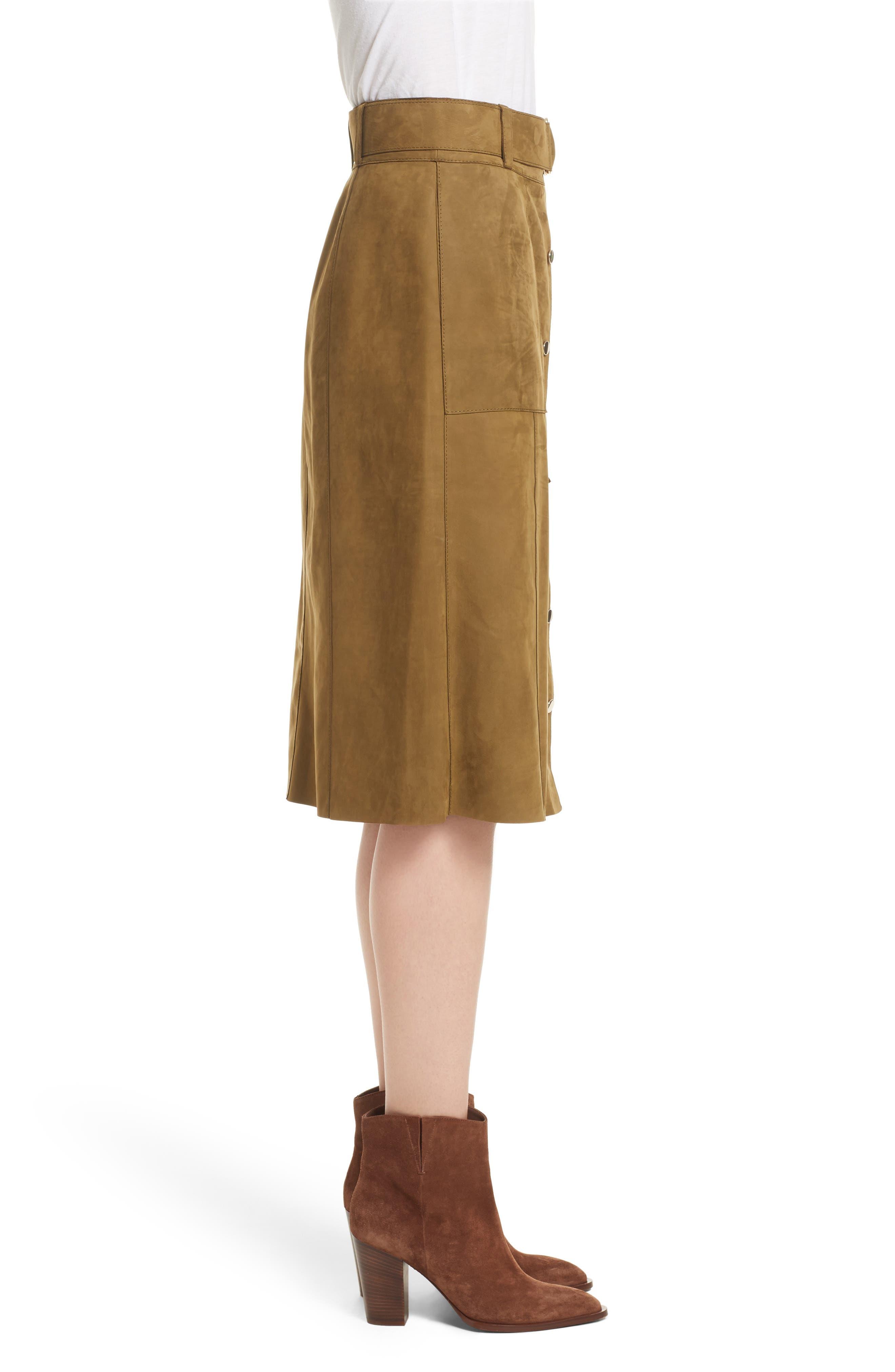 Orla Leather Skirt,                             Alternate thumbnail 5, color,                             Kelp