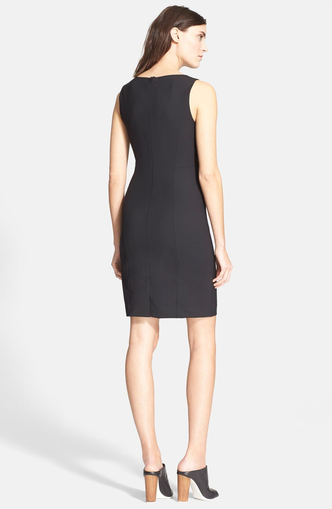 'Betty.2B' Stretch Wool Sheath Dress,                             Alternate thumbnail 3, color,                             Black