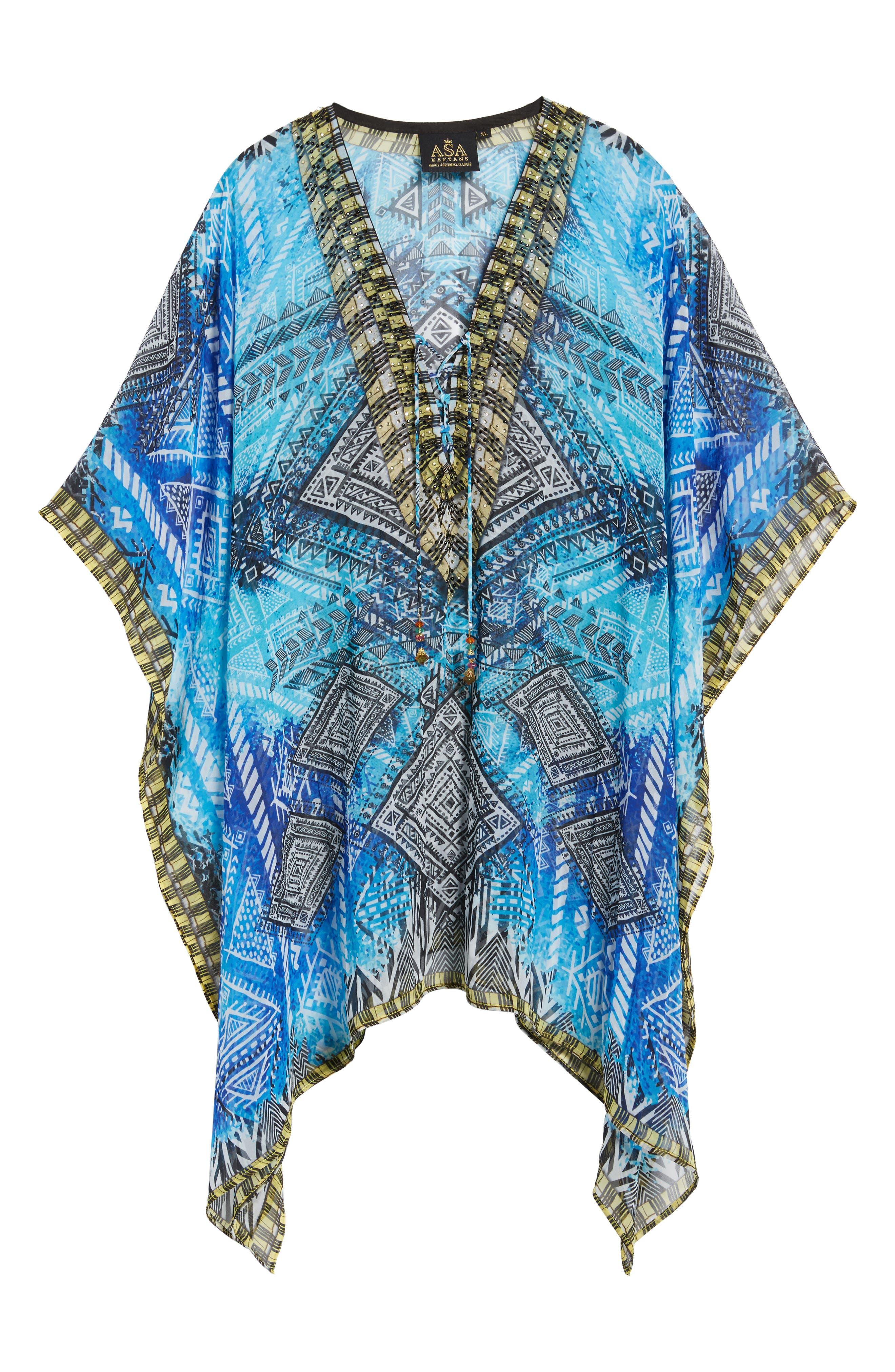 'Fiji' Short Kaftan,                             Alternate thumbnail 5, color,                             Blue Multi