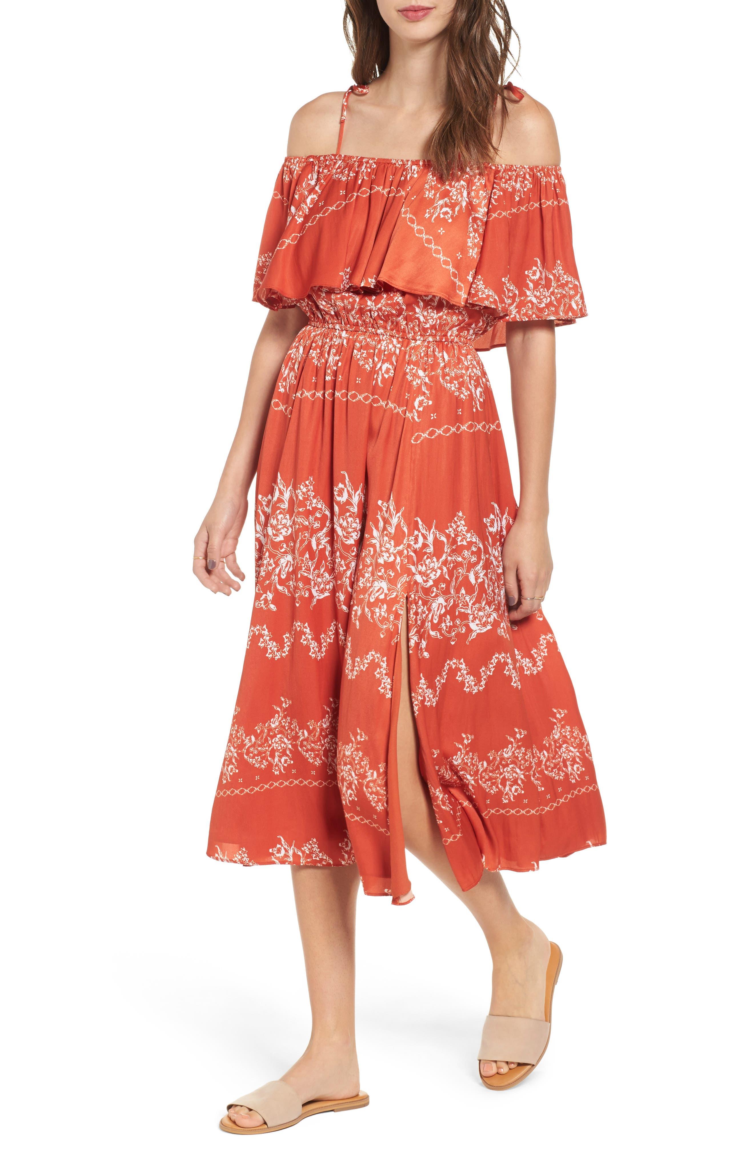 Jacqui Floral Print Cold Shoulder Dress,                         Main,                         color, Red Floral Stripe