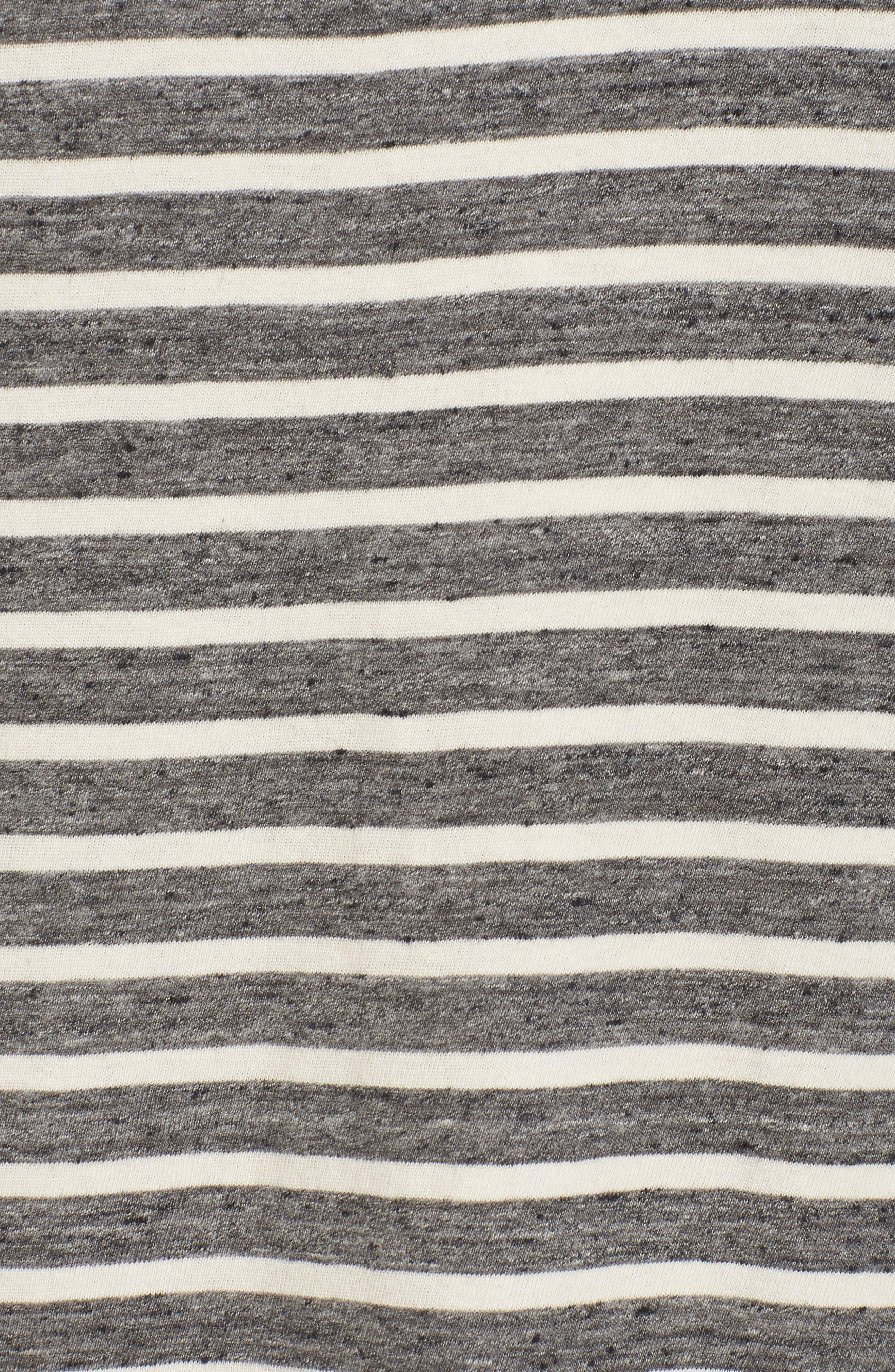 Stripe Knit T-Shirt Dress,                             Alternate thumbnail 5, color,                             Charcoal Anchor Stripe