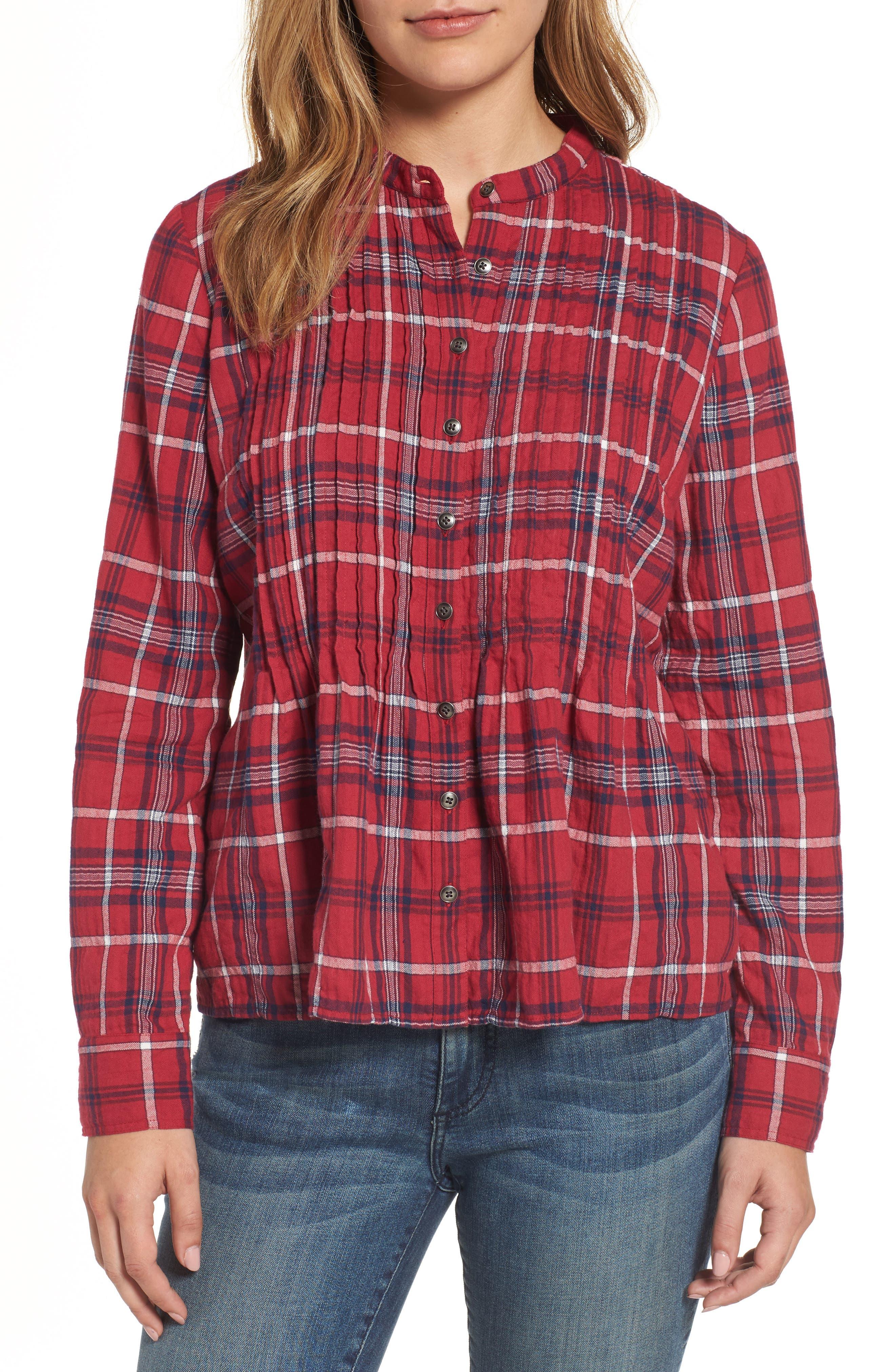 Caslon® Pintuck Plaid Shirt (Regular & Petite)