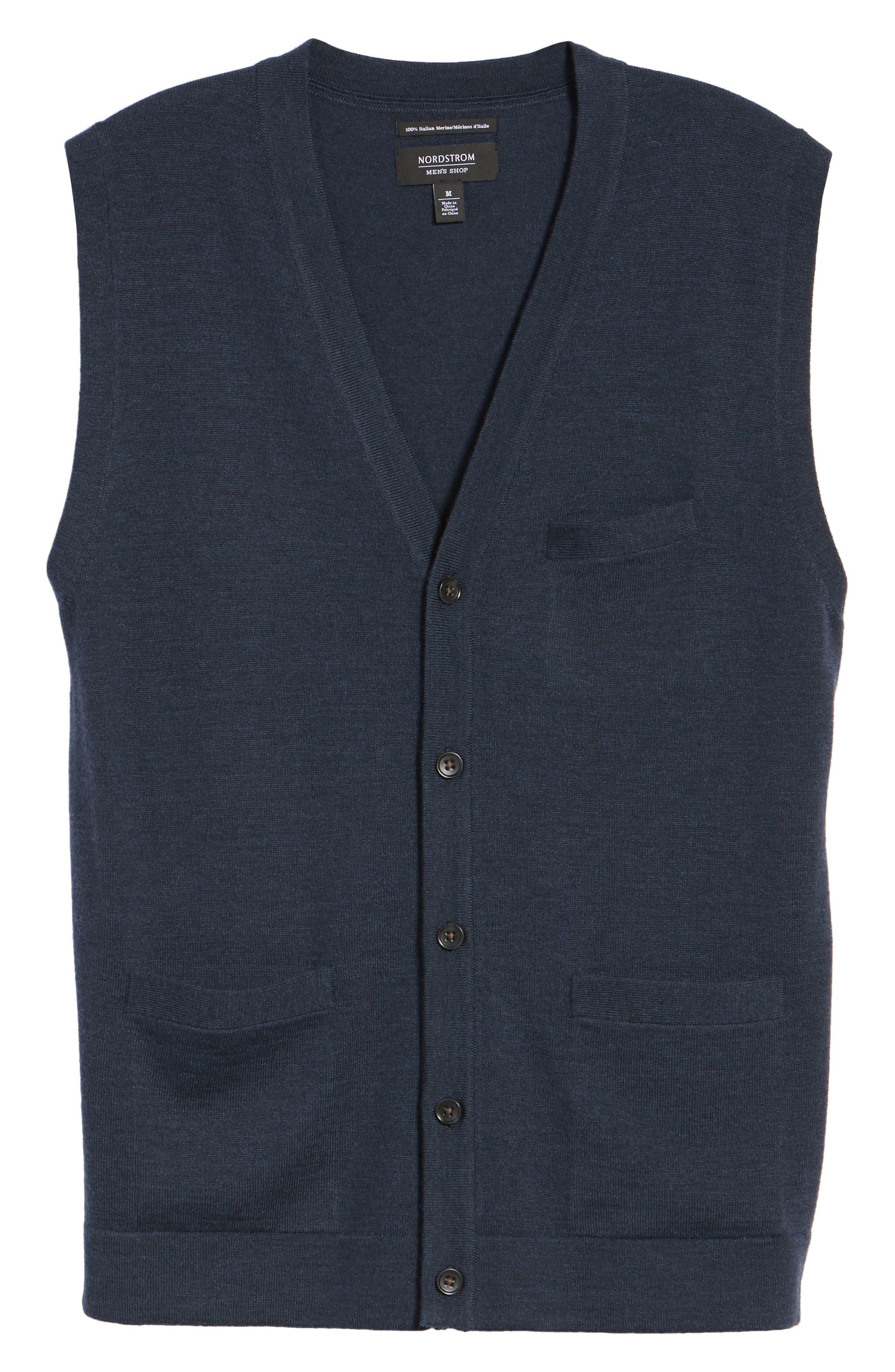 Alternate Image 6  - Nordstrom Men's Shop Merino Button Front Sweater Vest