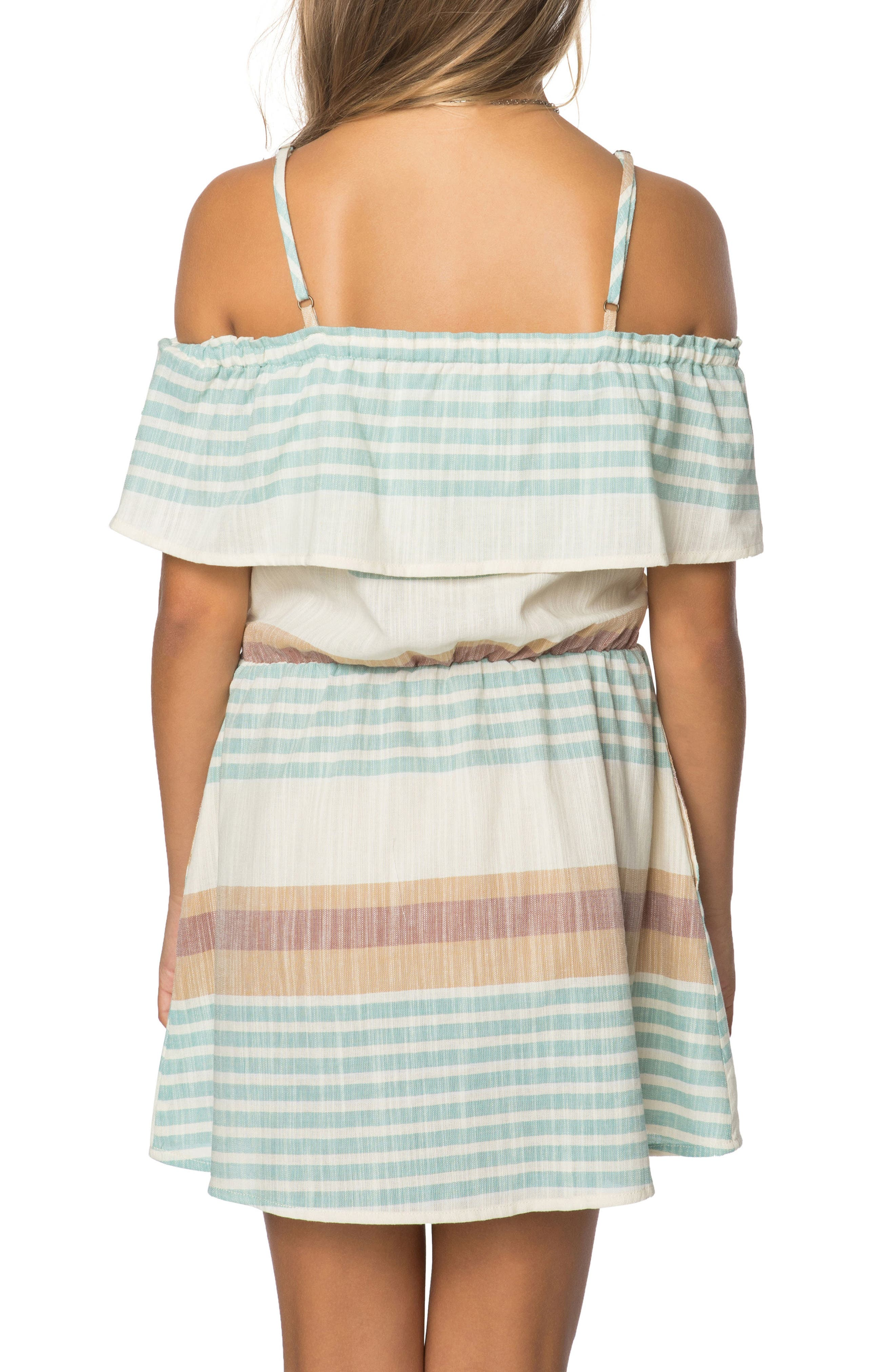Alternate Image 2  - O'Neill Pier Stripe Off the Shoulder Dress (Big Girls)