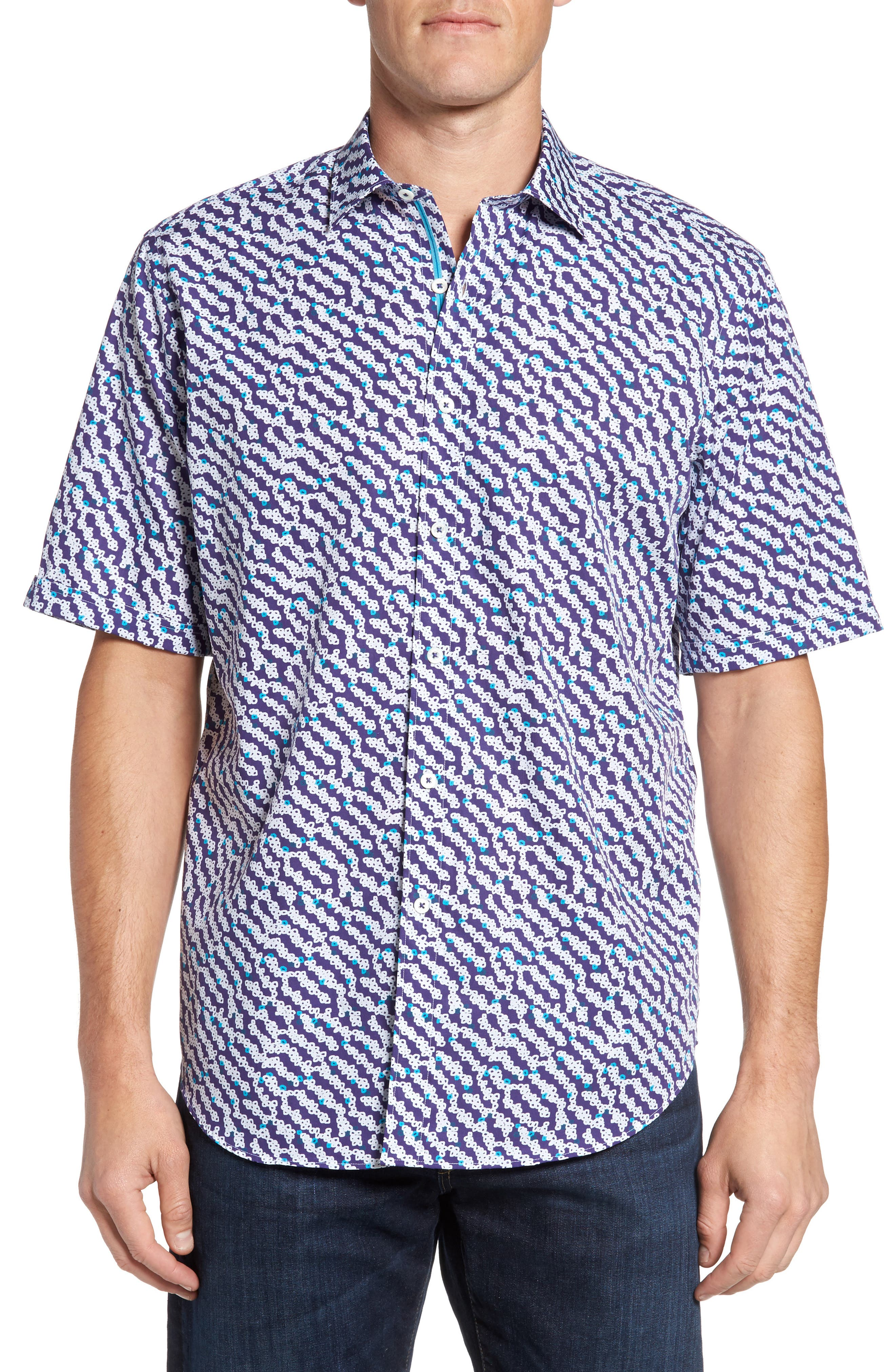 Alternate Image 1 Selected - Bugatchi Classic Fit Print Short Sleeve Sport Shirt