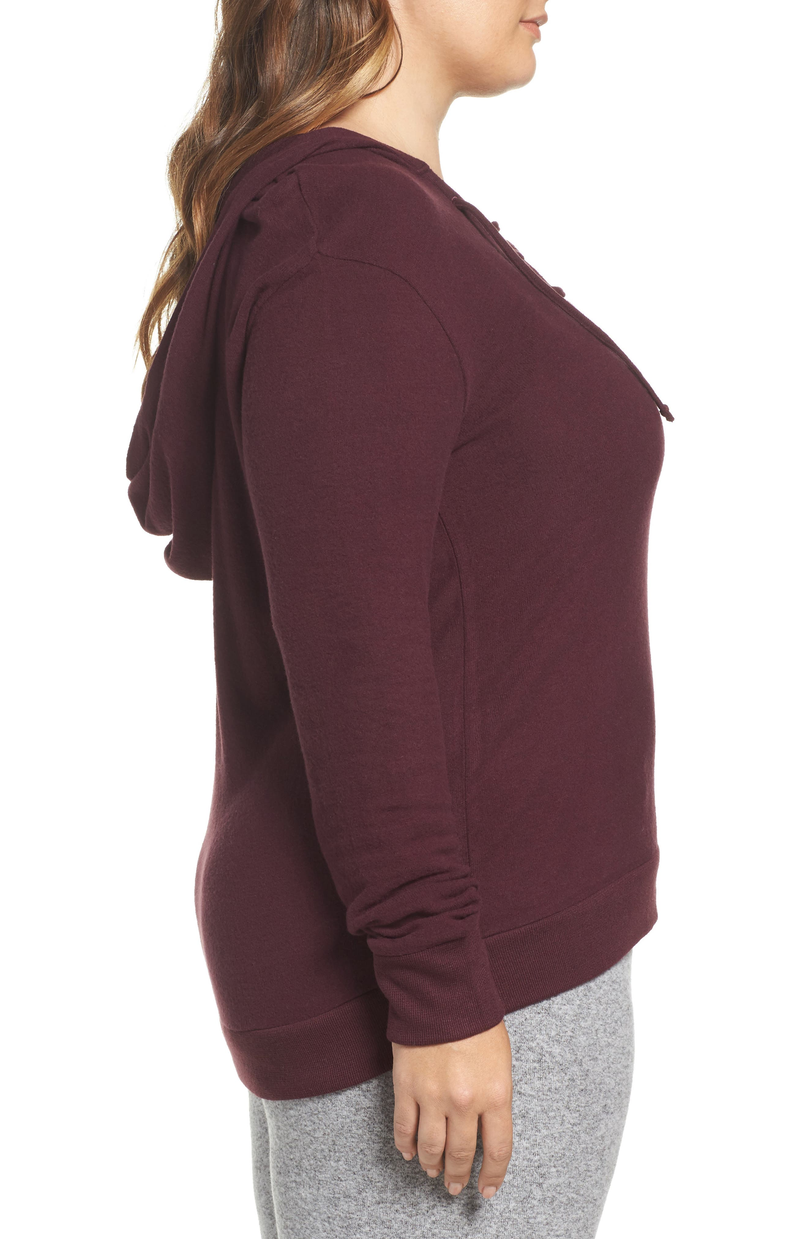 Lace-Up Pullover,                             Alternate thumbnail 3, color,                             Burgundy Stem Marl