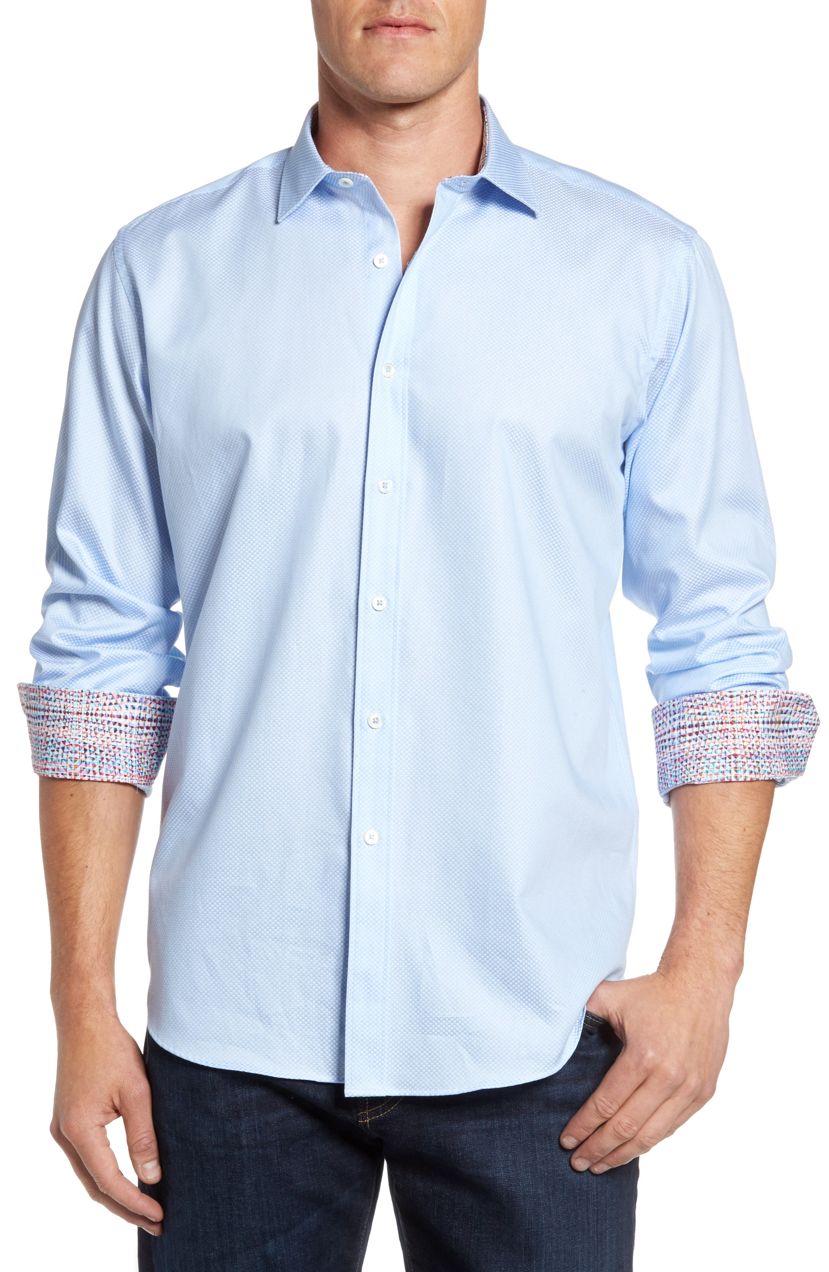 Classic Fit Diamond Print Sport Shirt,                             Main thumbnail 1, color,                             Sky