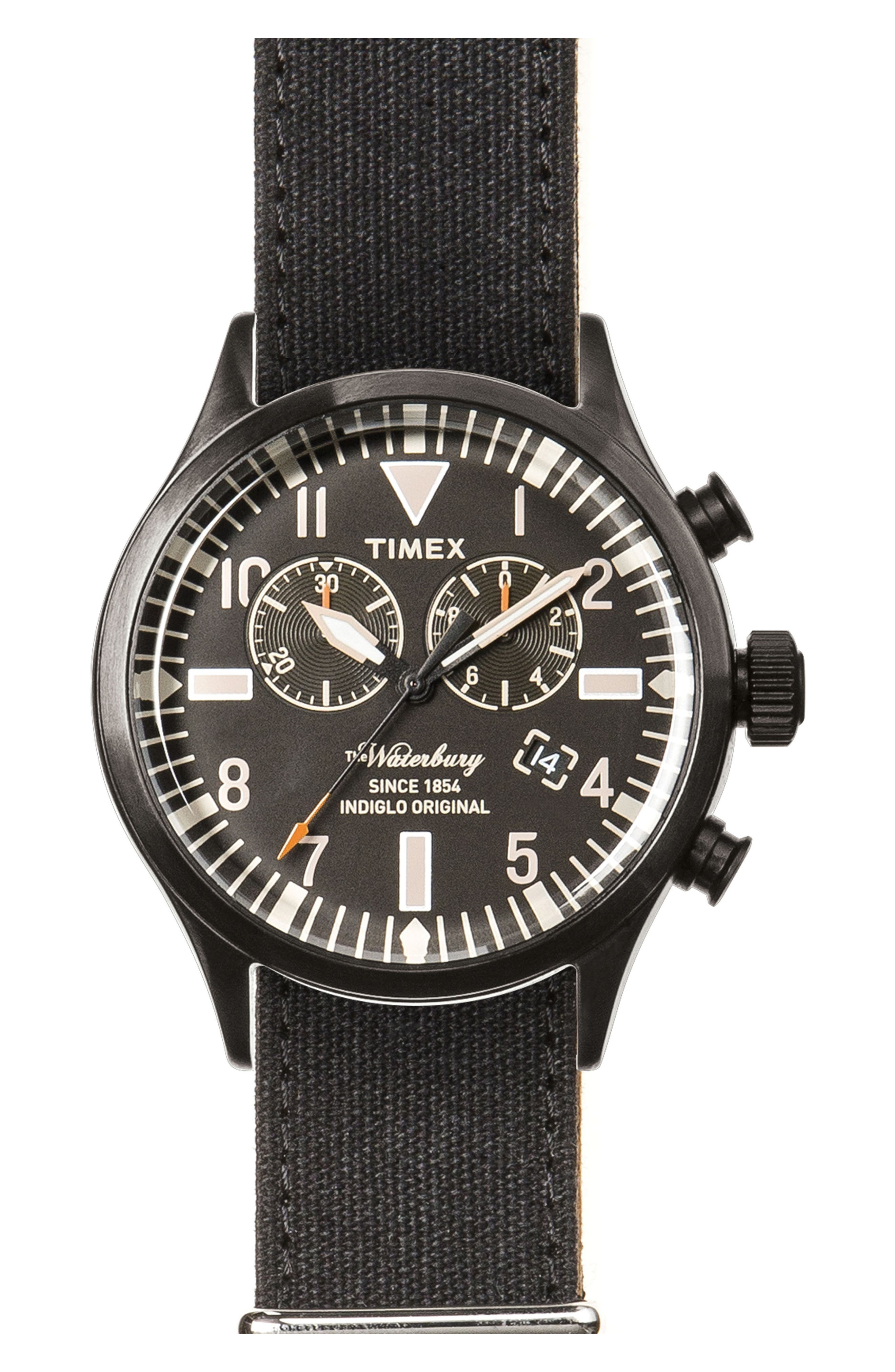 Waterbury Chronograph Fabric Strap Watch, 42mm,                         Main,                         color, Black/ Black