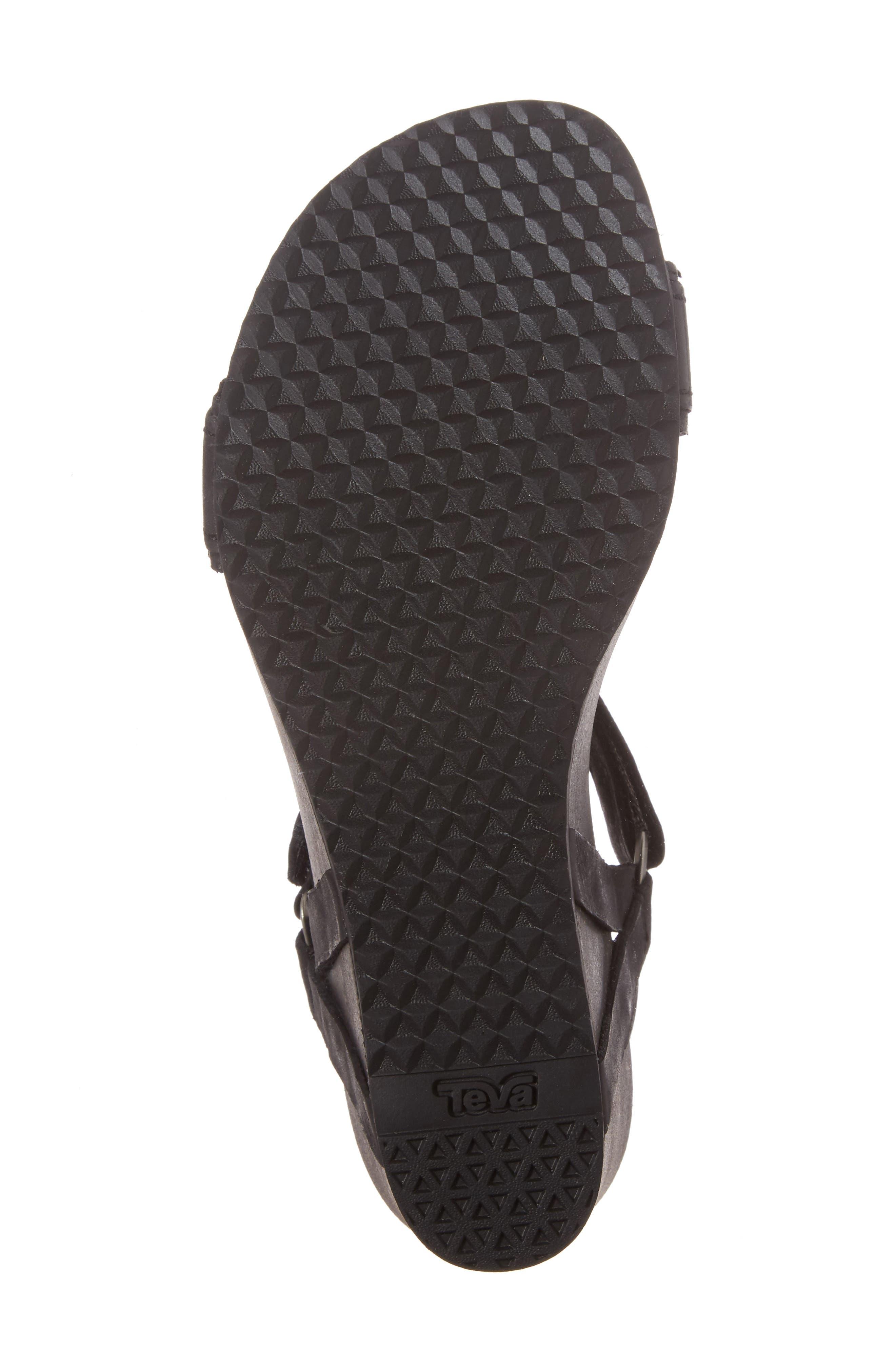 Ysidro Stitch Wedge Sandal,                             Alternate thumbnail 6, color,                             Black Leather