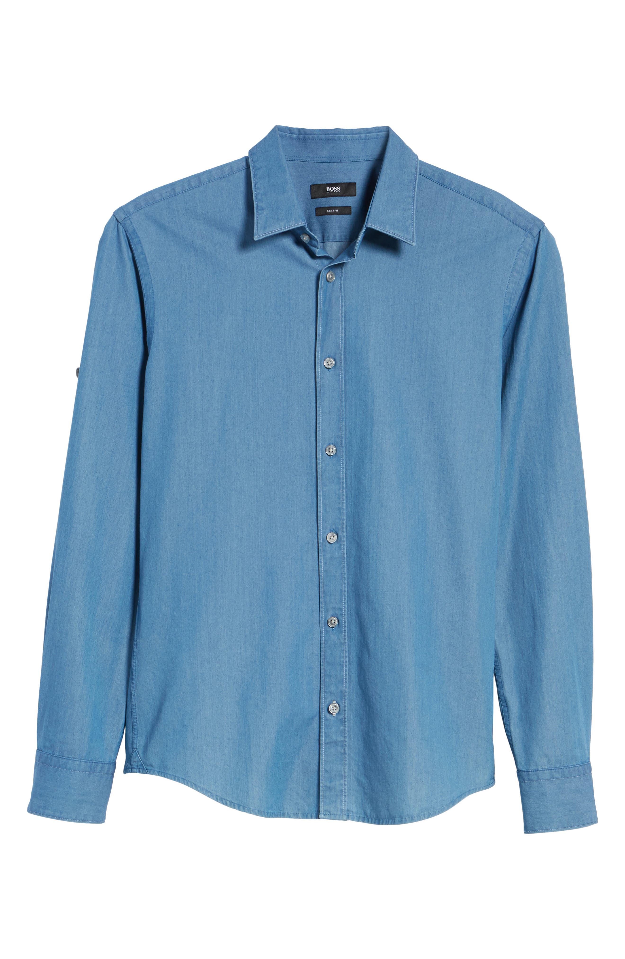 Reid Denim Sport Shirt,                             Alternate thumbnail 5, color,                             Blue