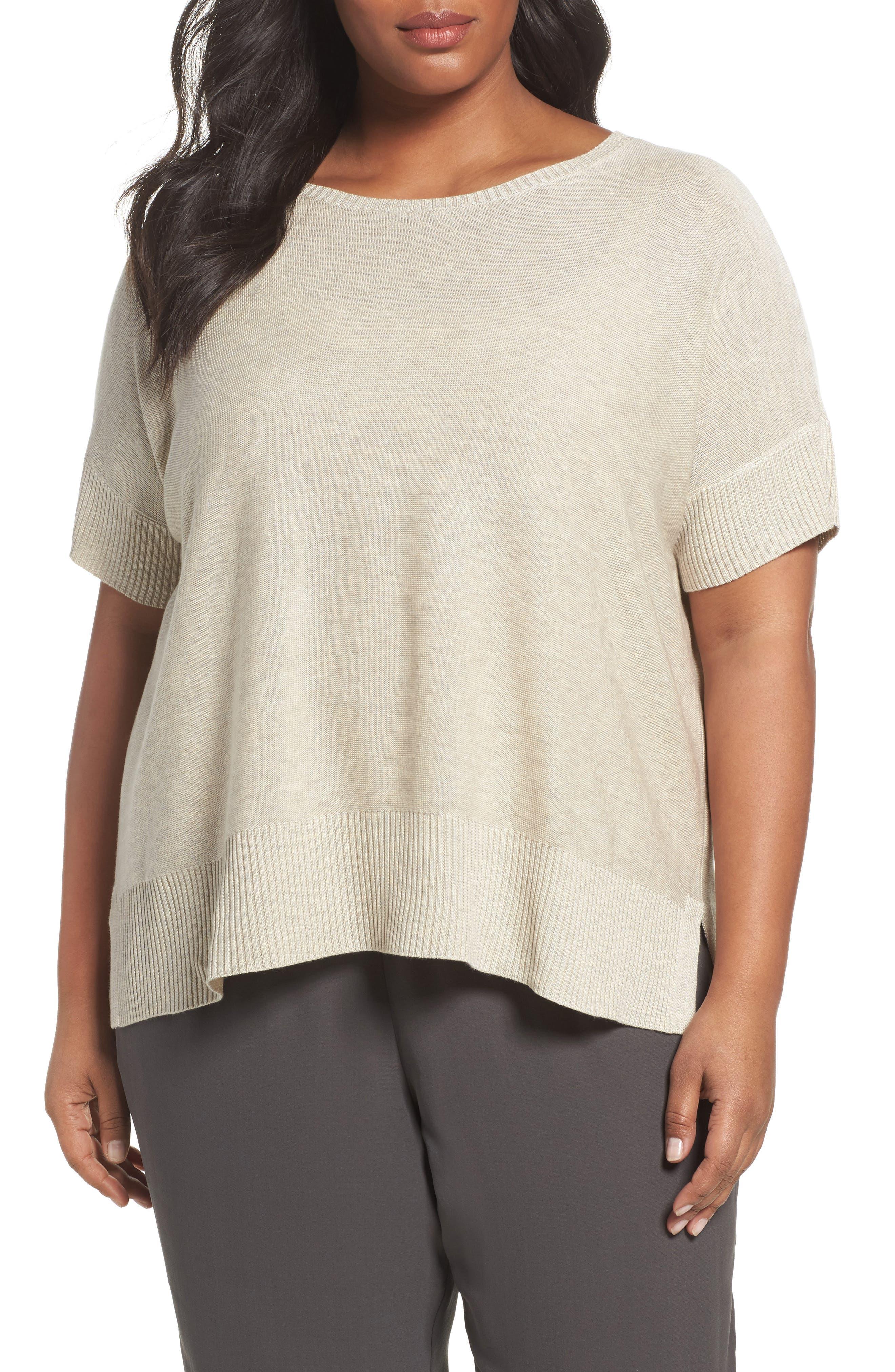 Eileen Fisher Tencel® & Merino Wool Top (Plus Size)