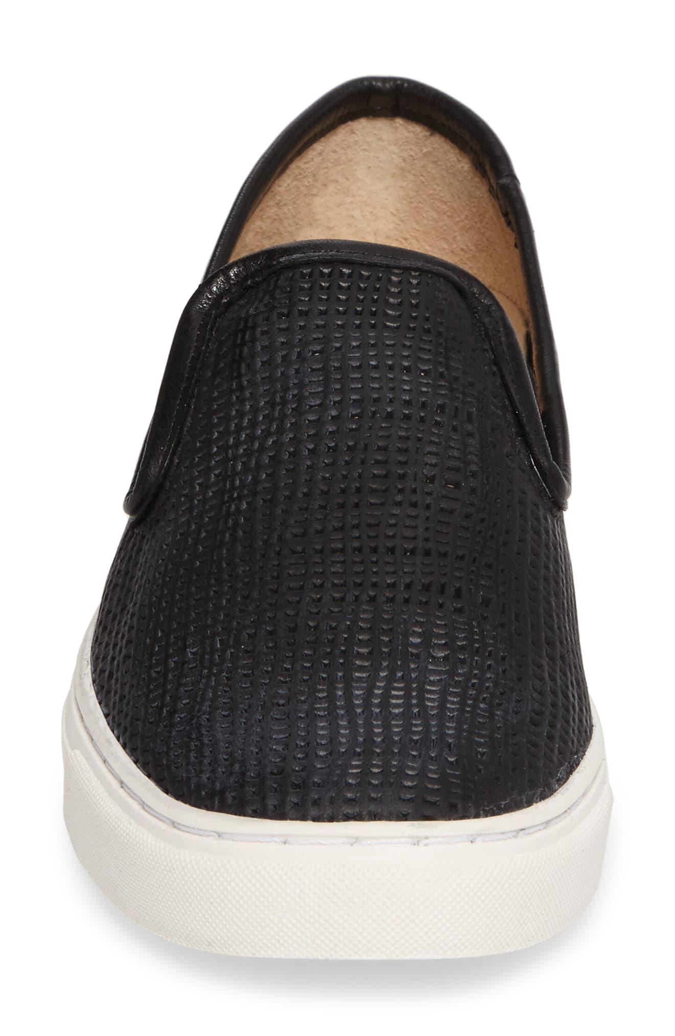 Becker Perforated Slip-On Sneaker,                             Alternate thumbnail 4, color,                             Black Weave